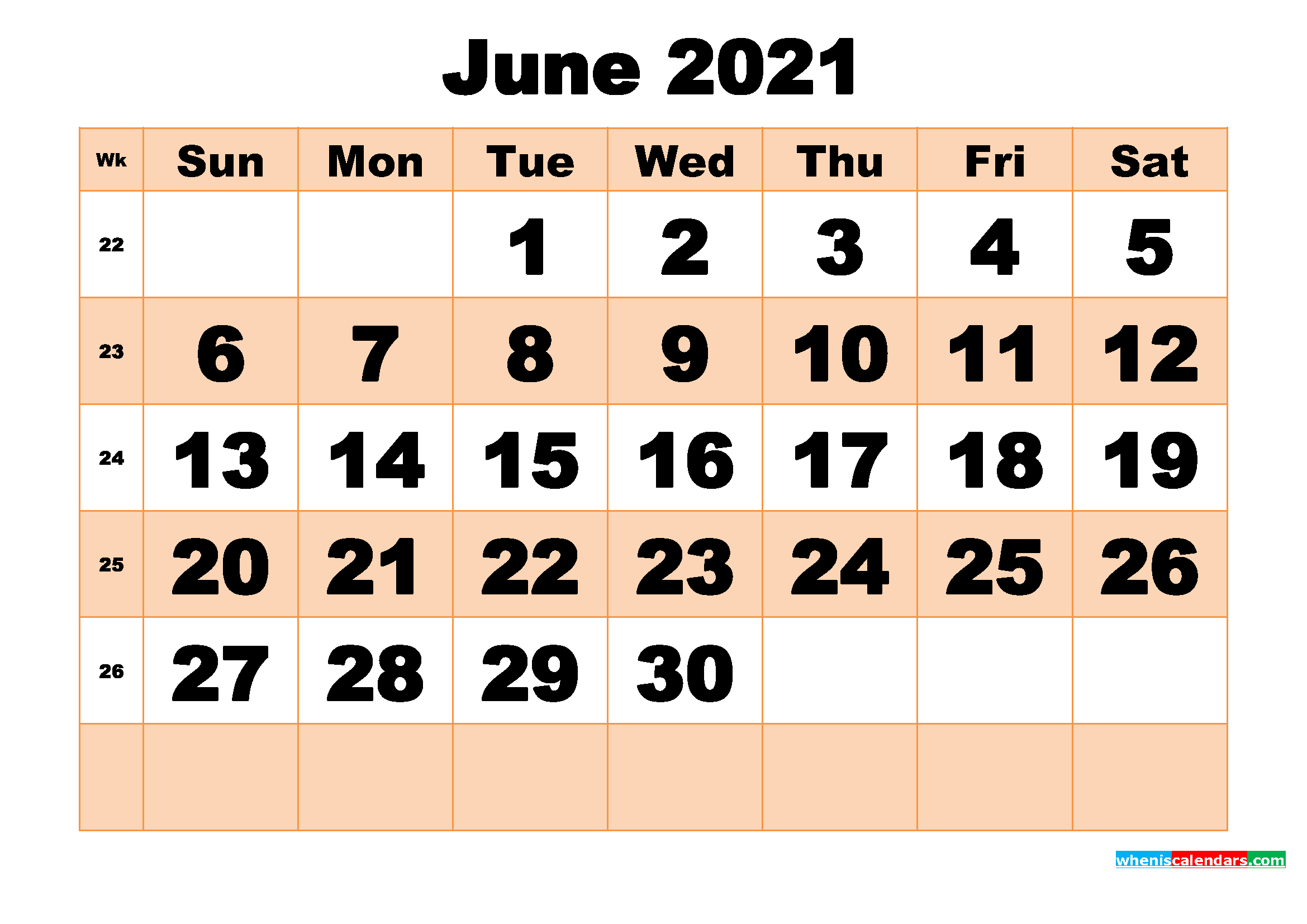 Free Printable June 2021 Calendar Template Word, PDF