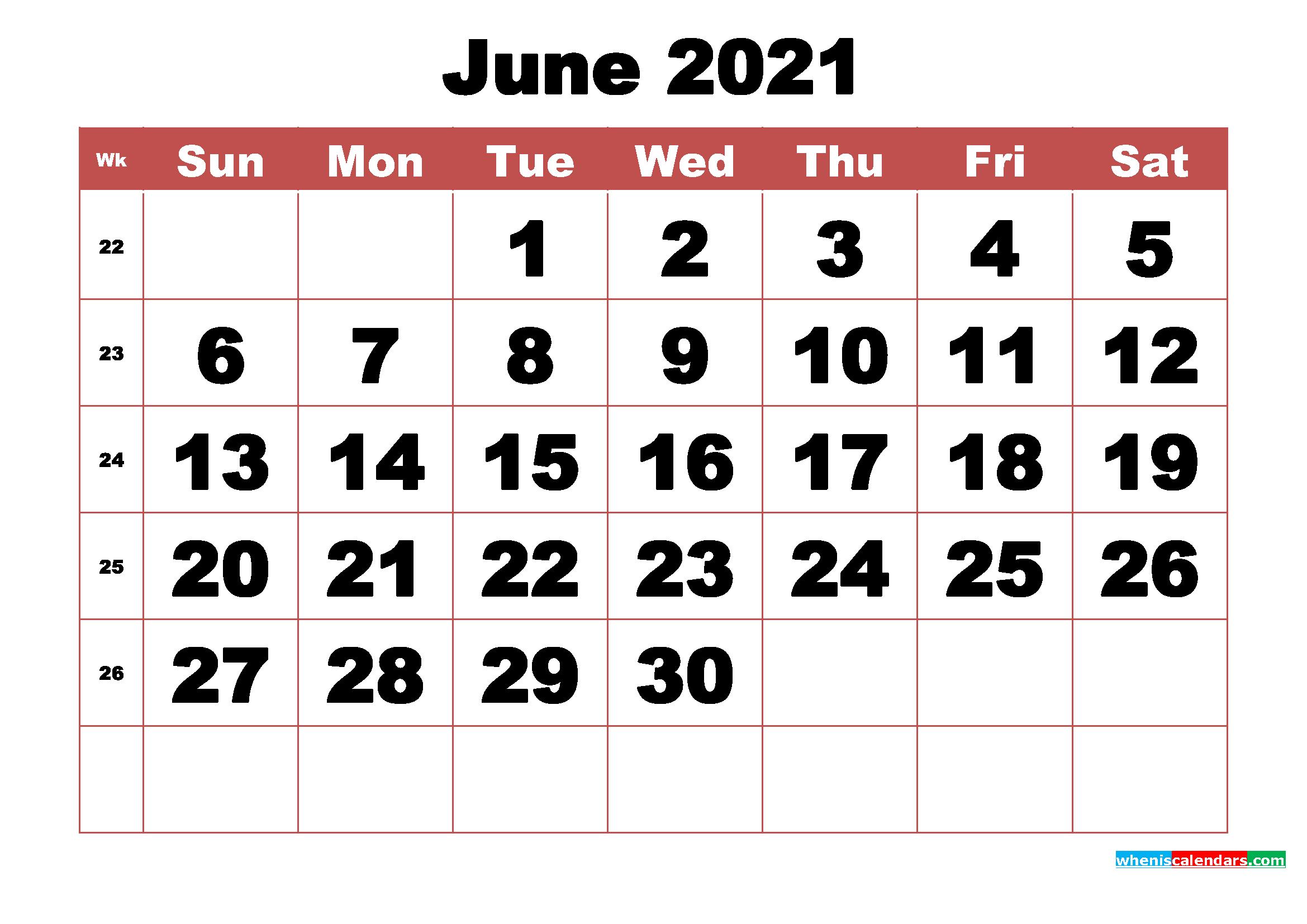 Free Printable June 2021 Calendar with Week Numbers | Free ...