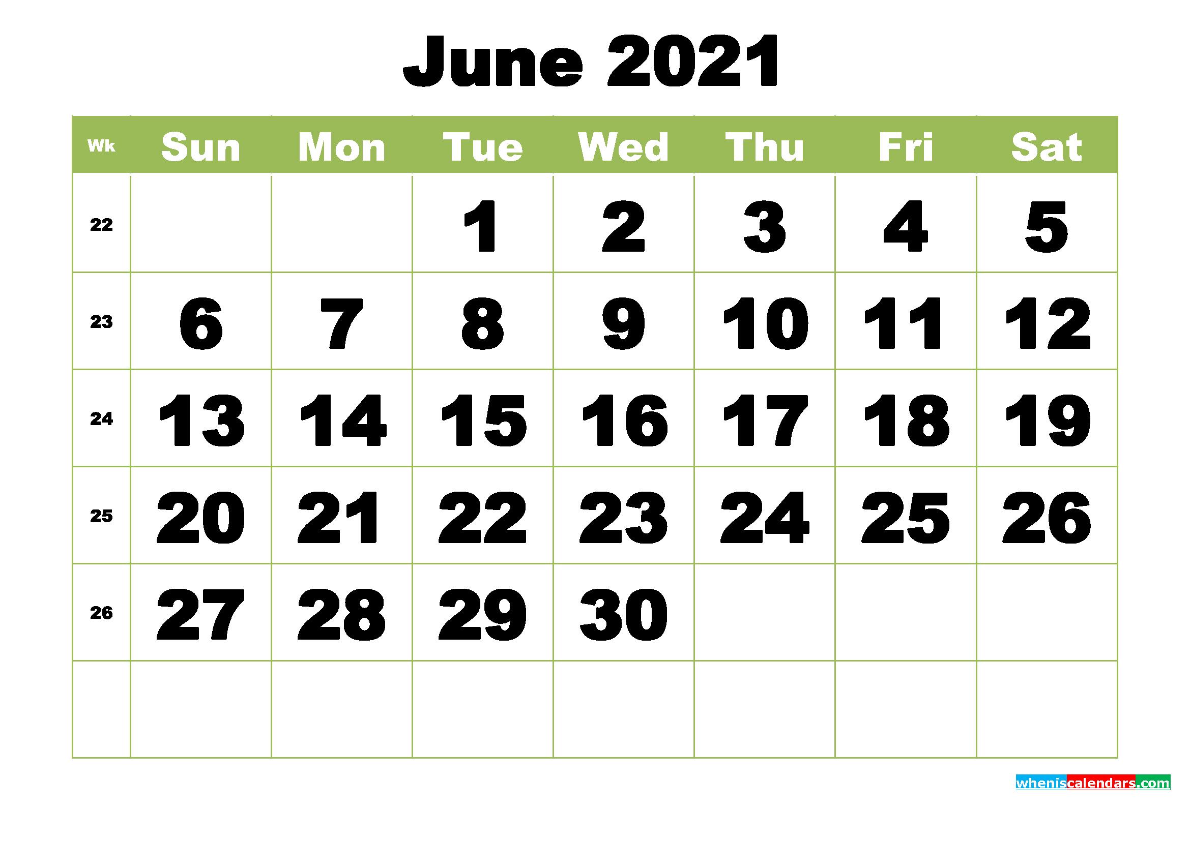 Free Printable Monthly Calendar June 2021 | Free Printable ...