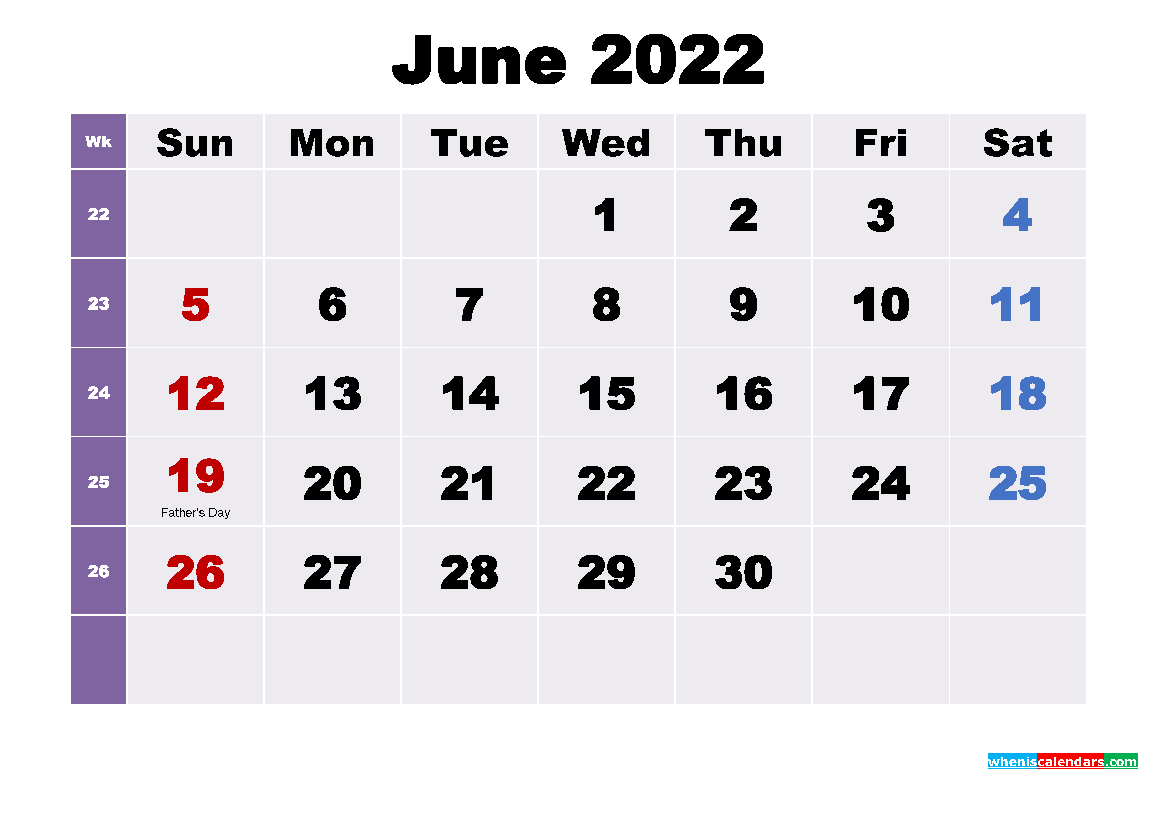 Printable 2022 Calendar by Month June