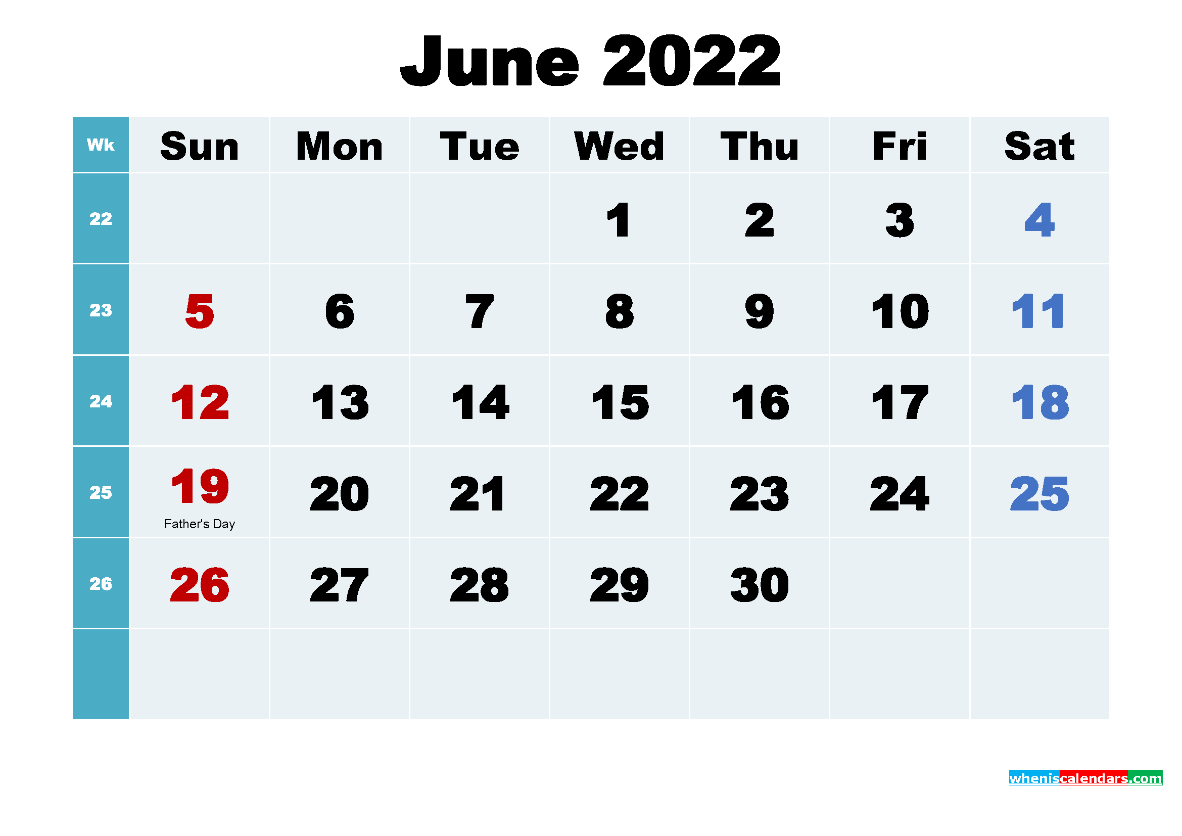 Printable 2022 Calendar with Holidays June