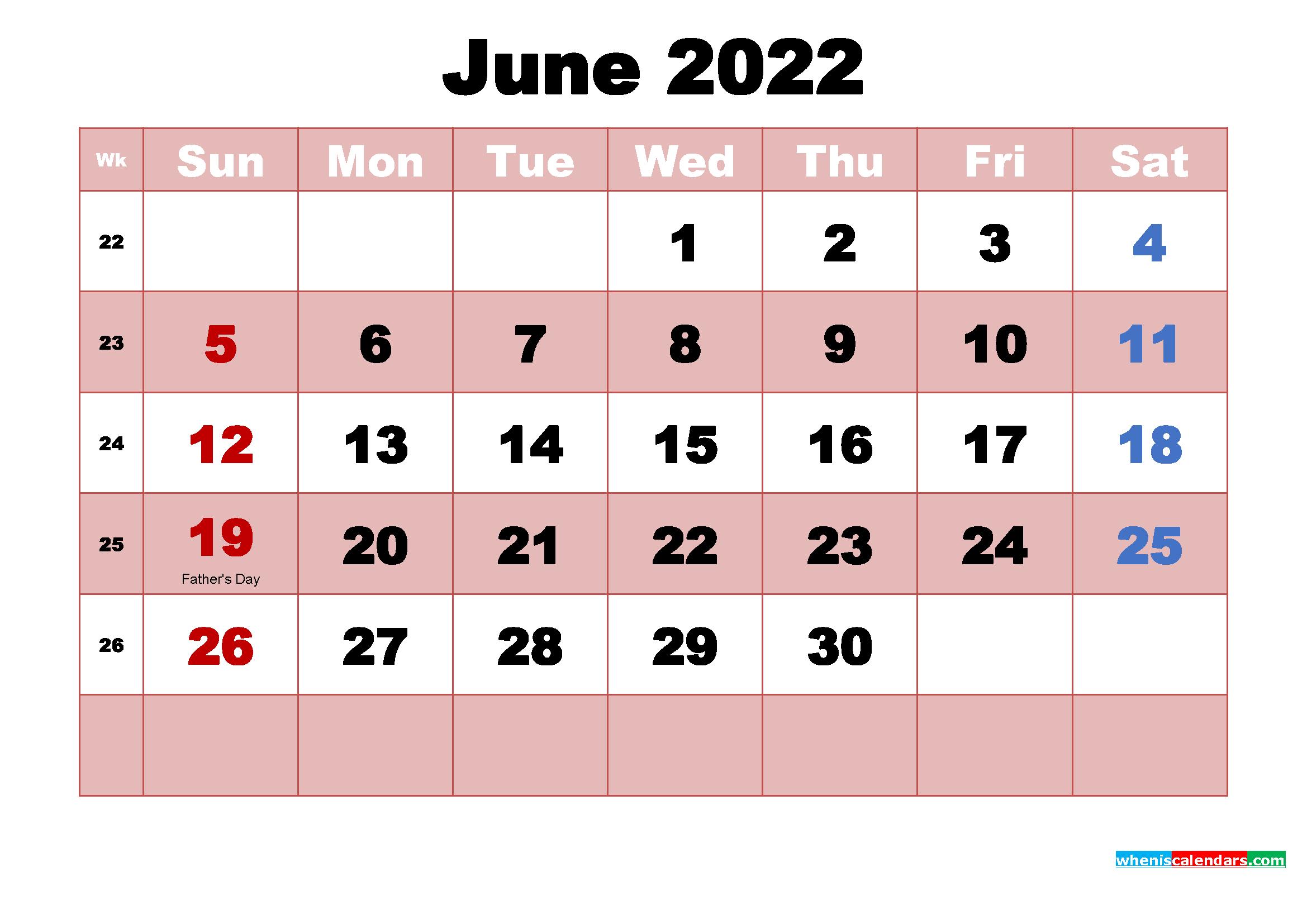 Free June 2022 Desktop Calendar High Resolution