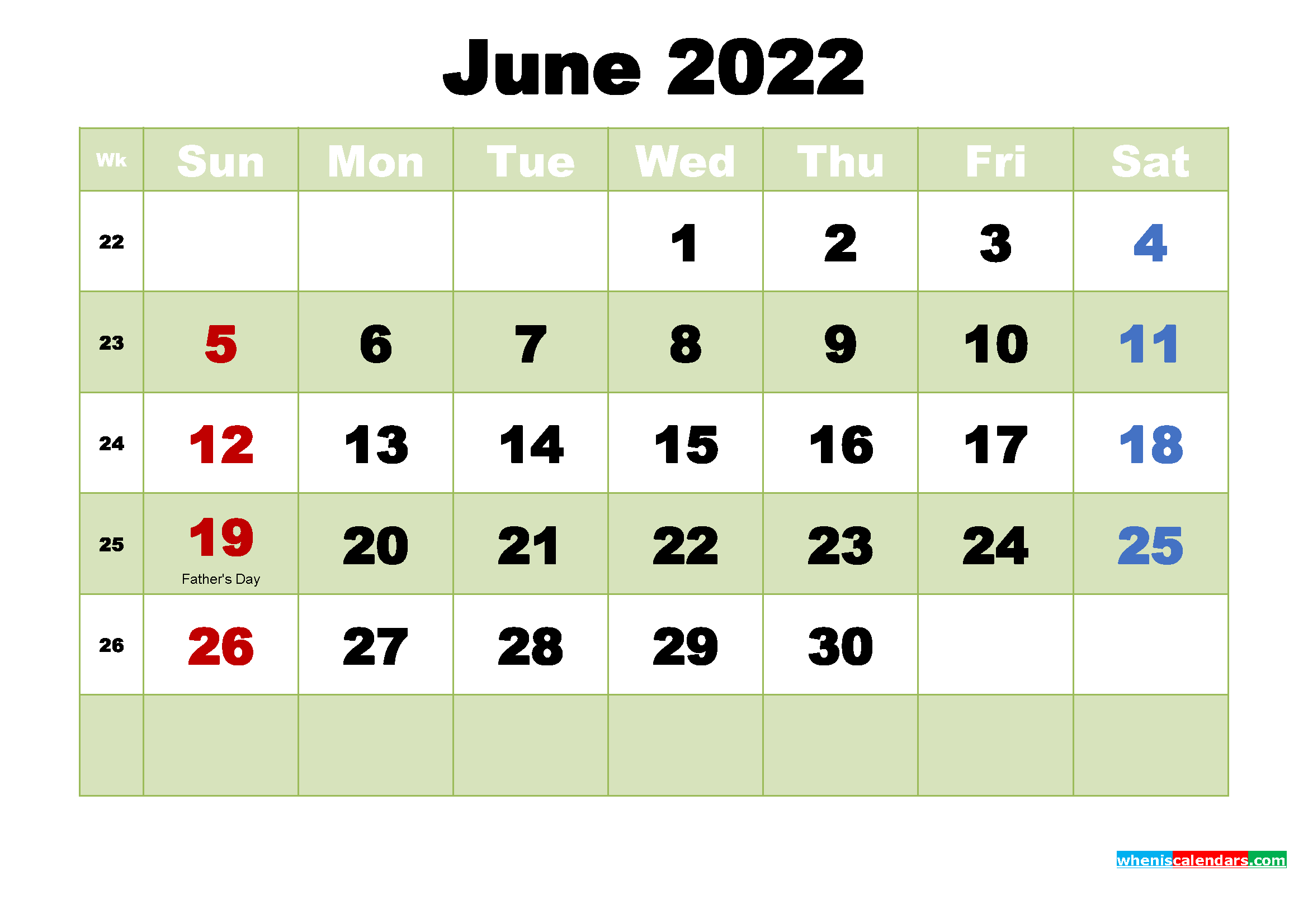 Free June 2022 Printable Calendar Template Word, PDF