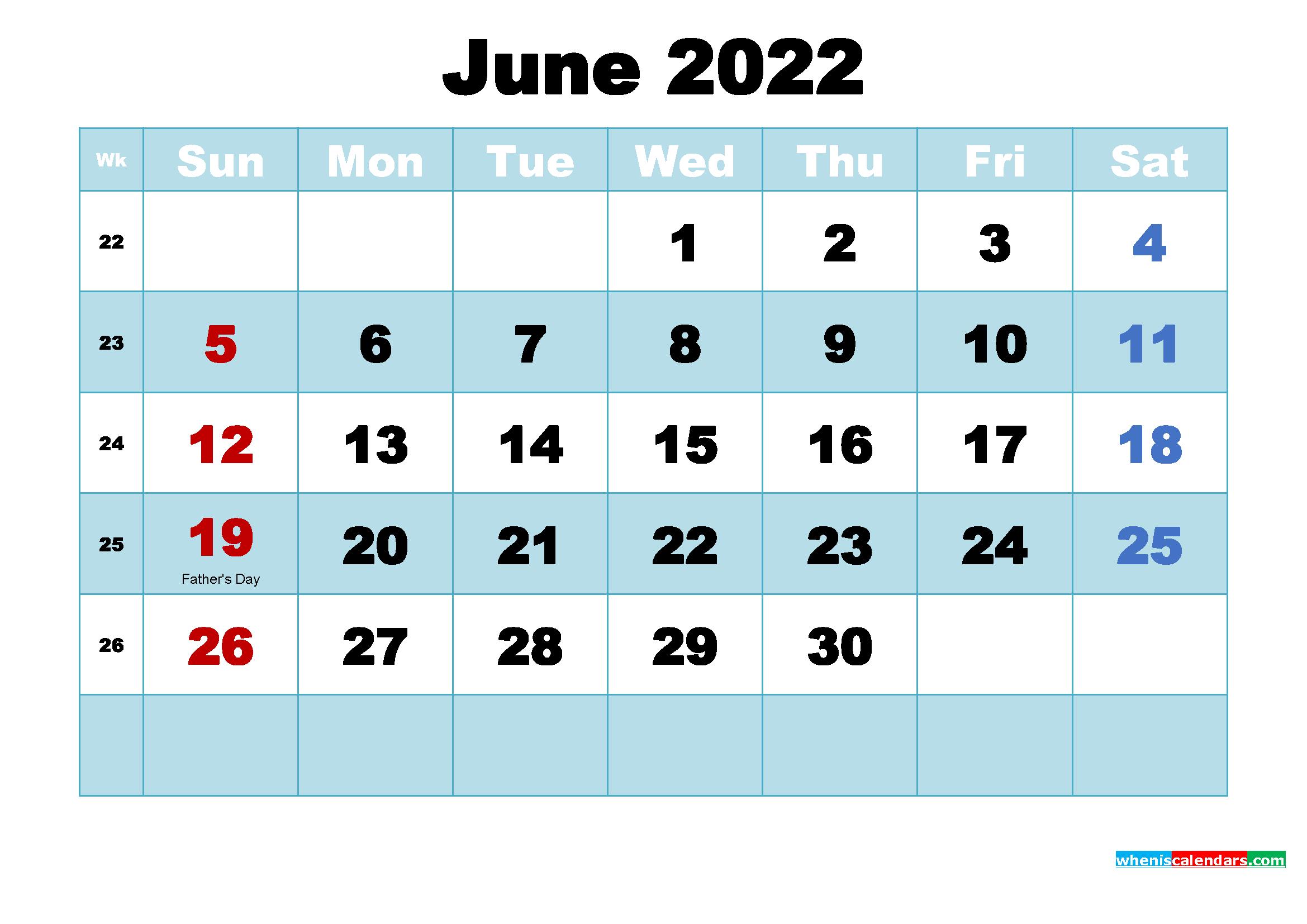 June 2022 Desktop Calendar with Holidays