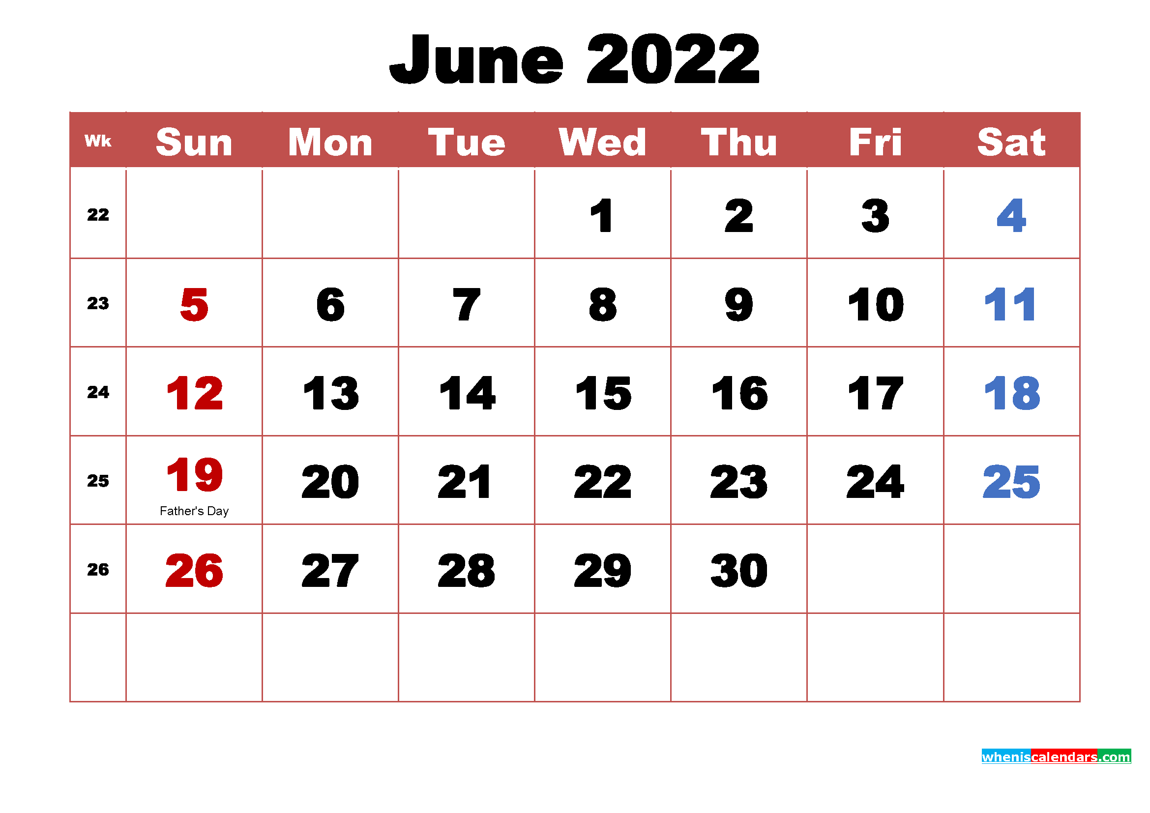 Printable 2022 Calendar with Holidays June