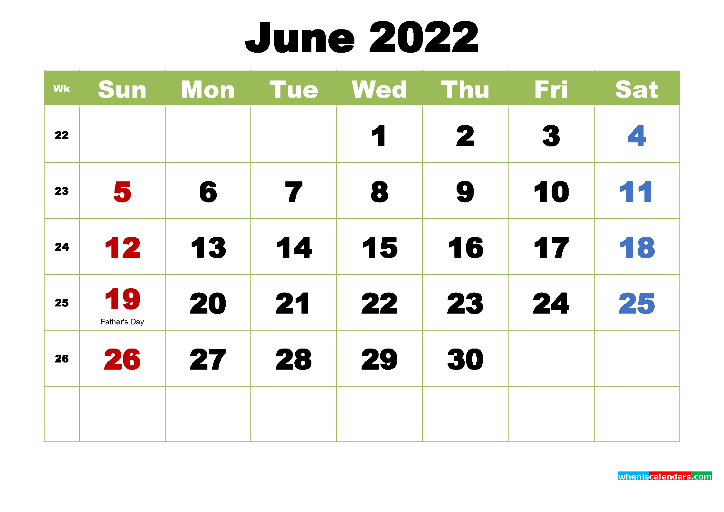 Free Printable 2022 Calendar with Holidays June