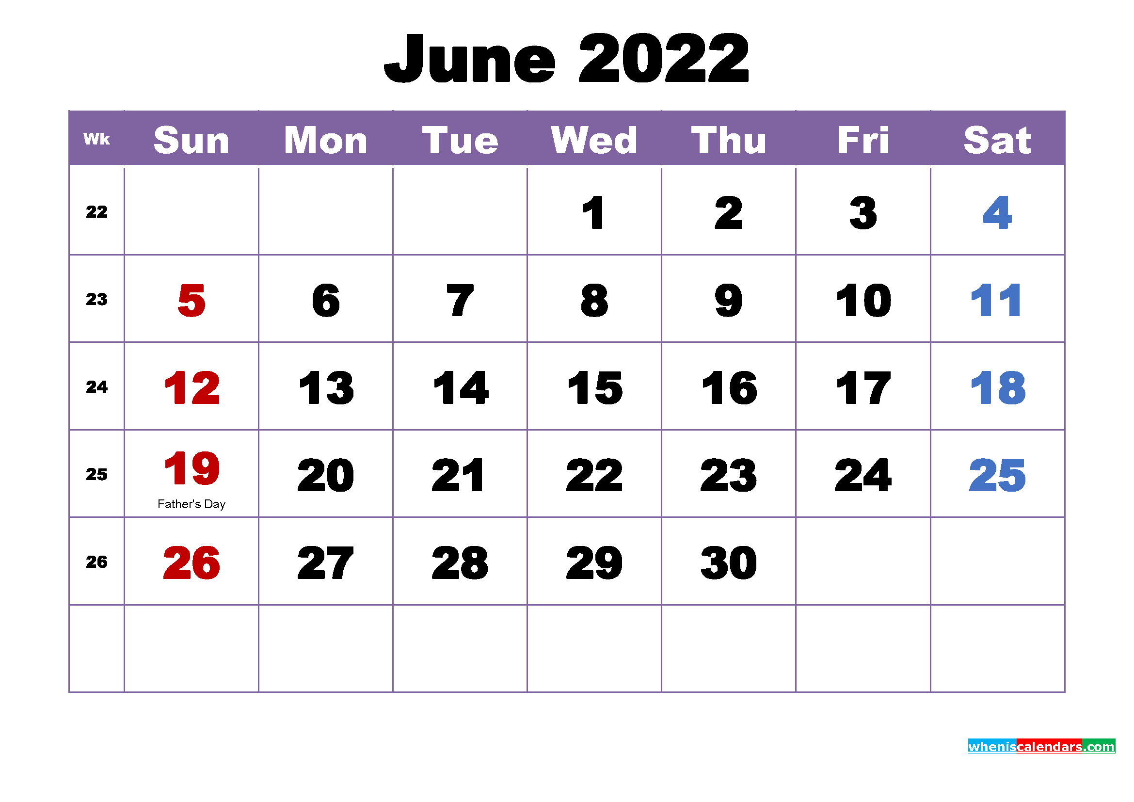 Free Printable 2022 Monthly Calendar with Holidays June