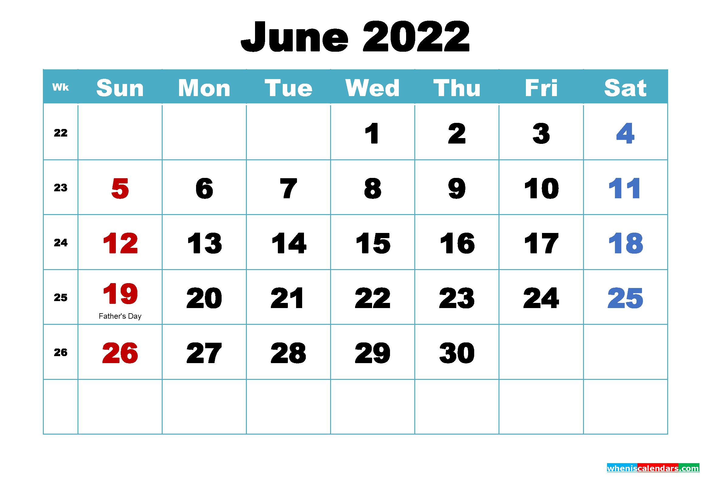 June 2022 Calendar Wallpaper Free Download