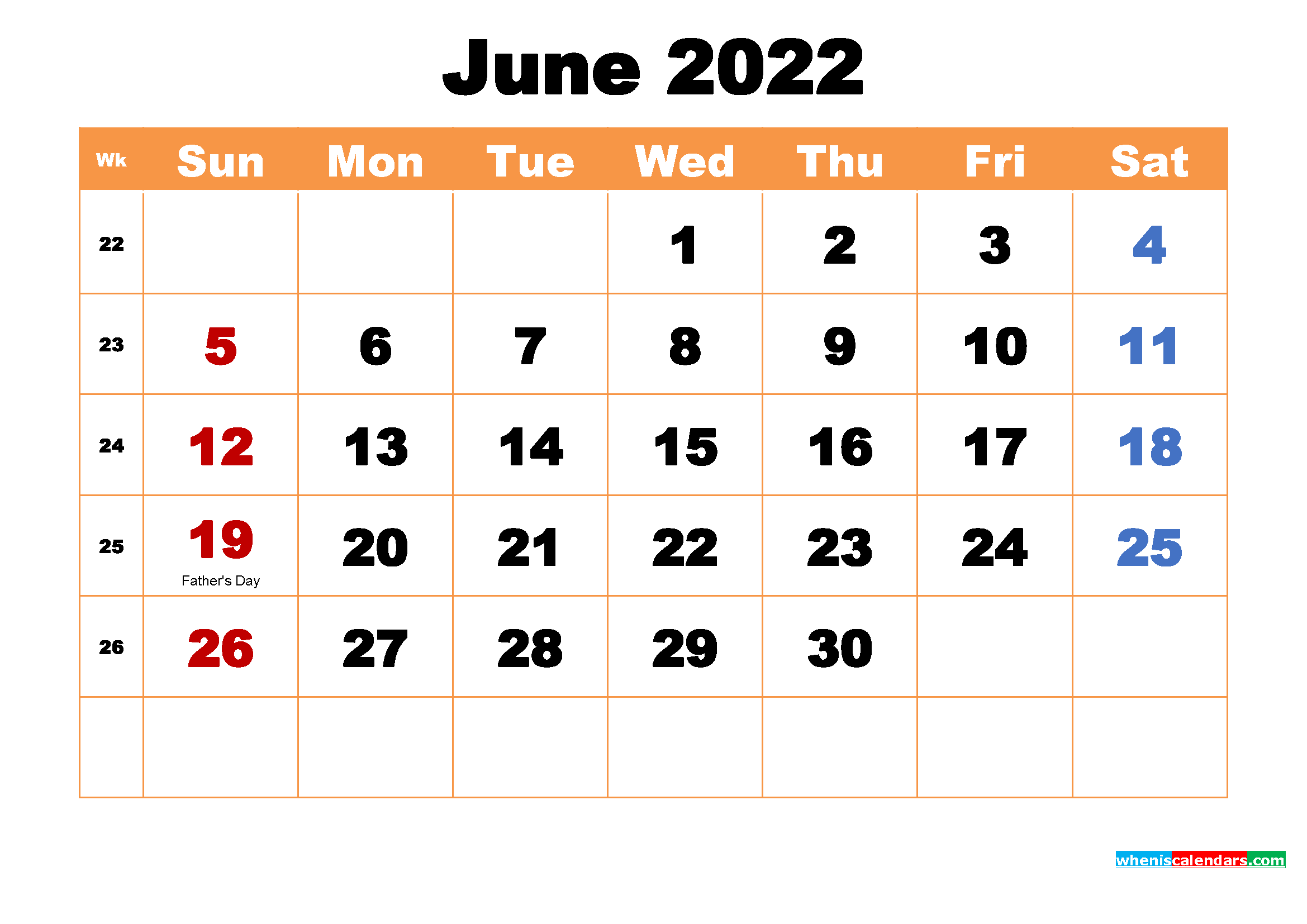 Printable Calendar for June 2022
