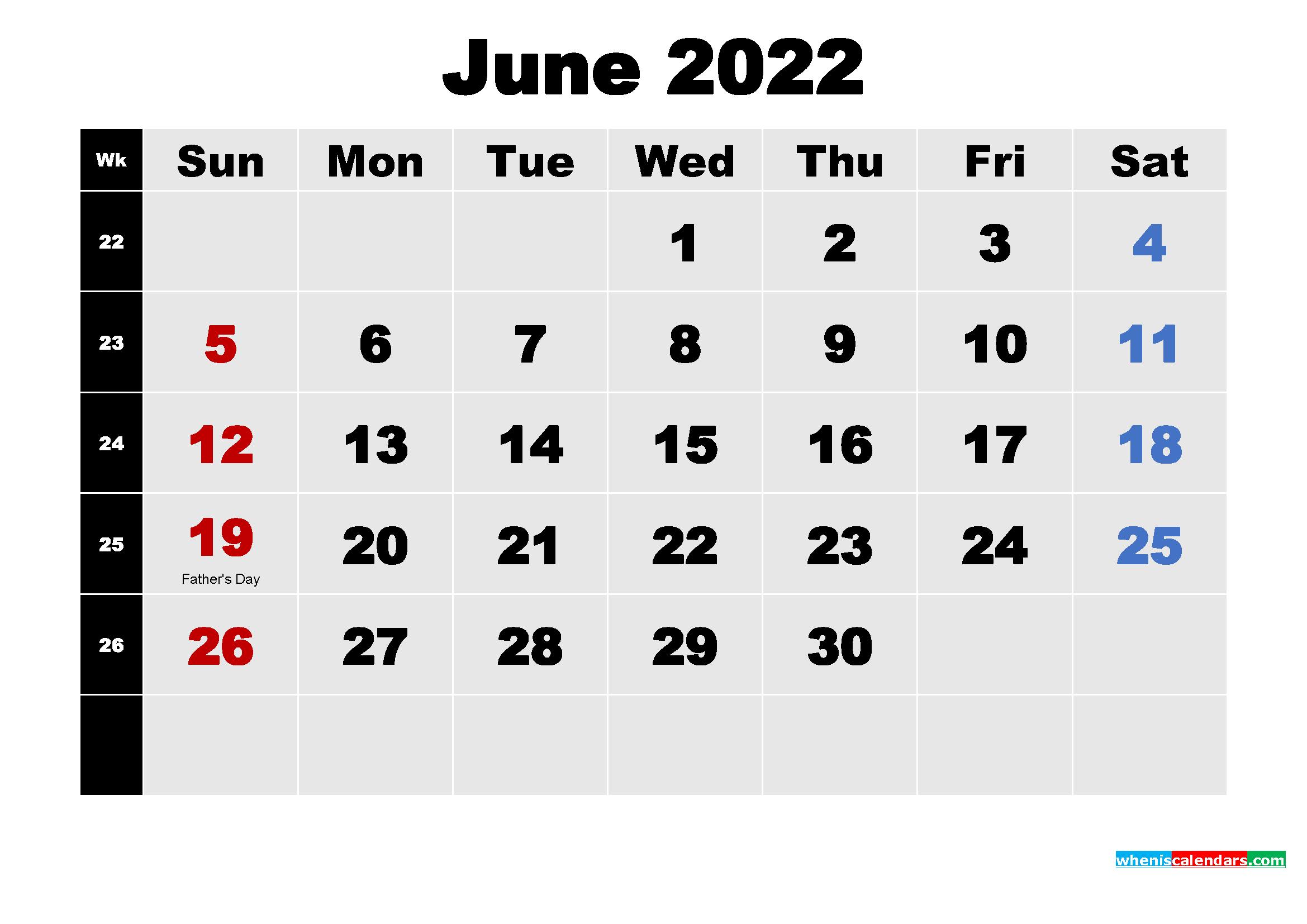 Free Printable June 2022 Calendar Word