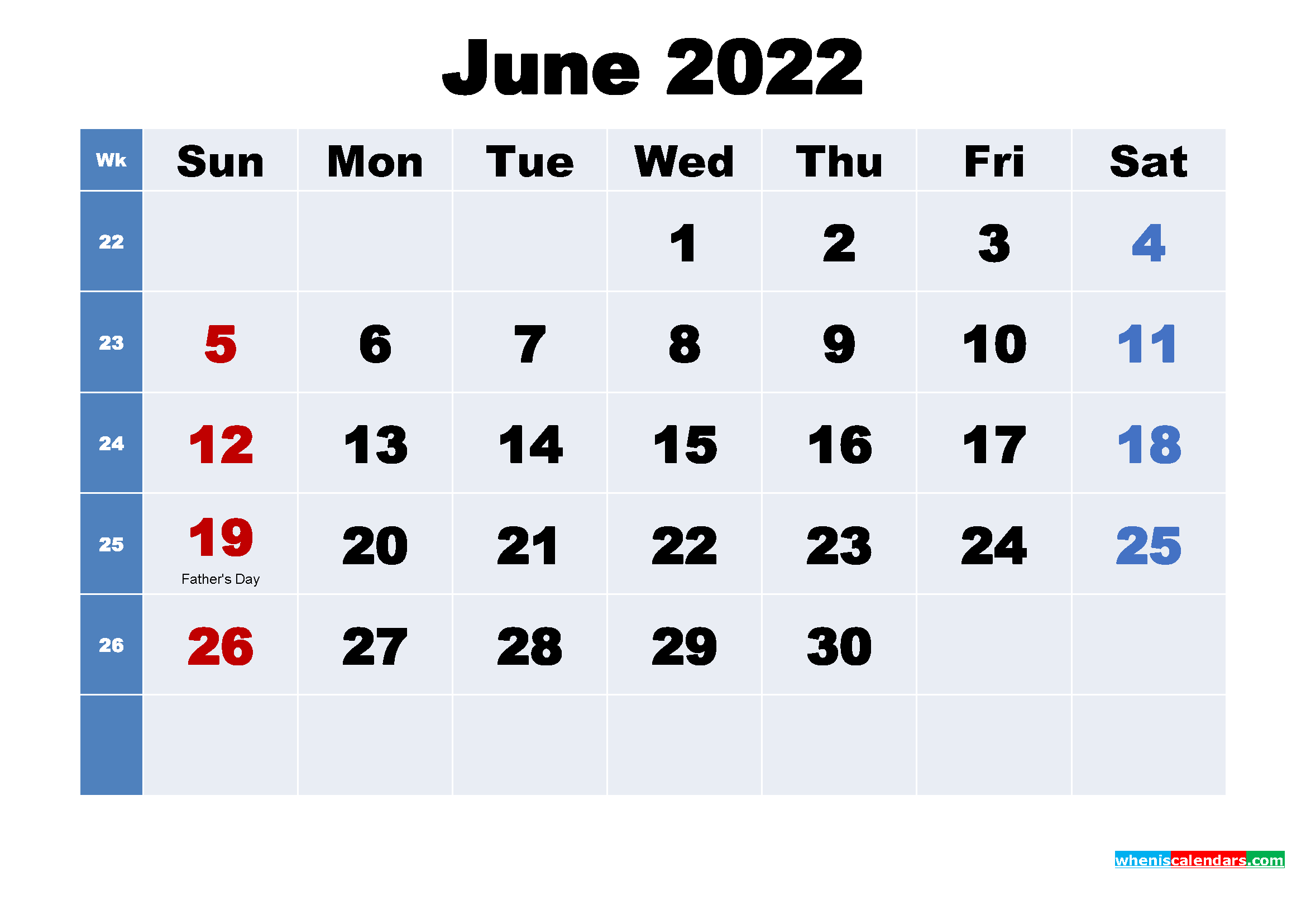 June 2022 Free Printable Calendar with Holidays
