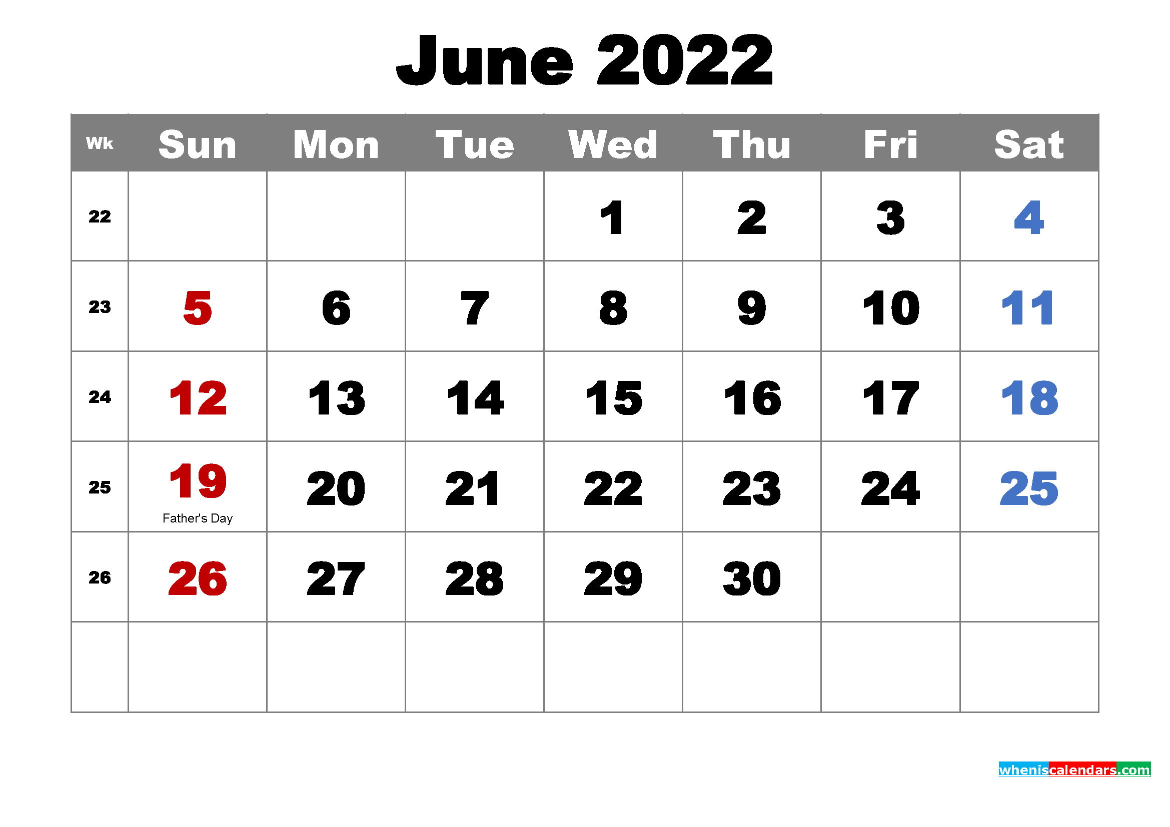 Free Printable June 2022 Calendar with Holidays as Word, PDF