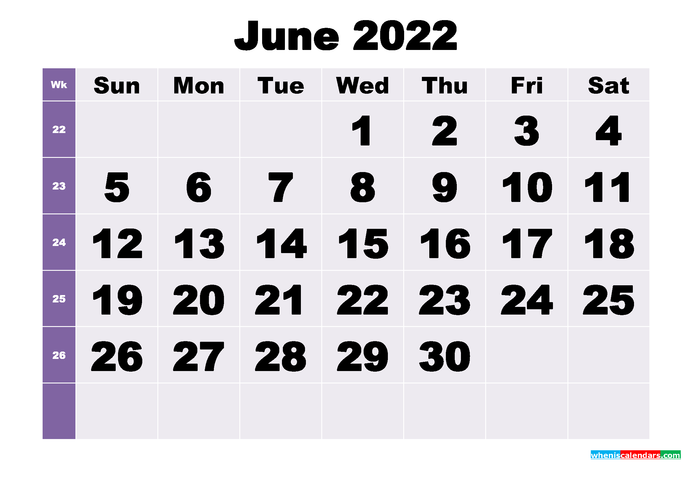 Free June 2022 Printable Monthly Calendar Template
