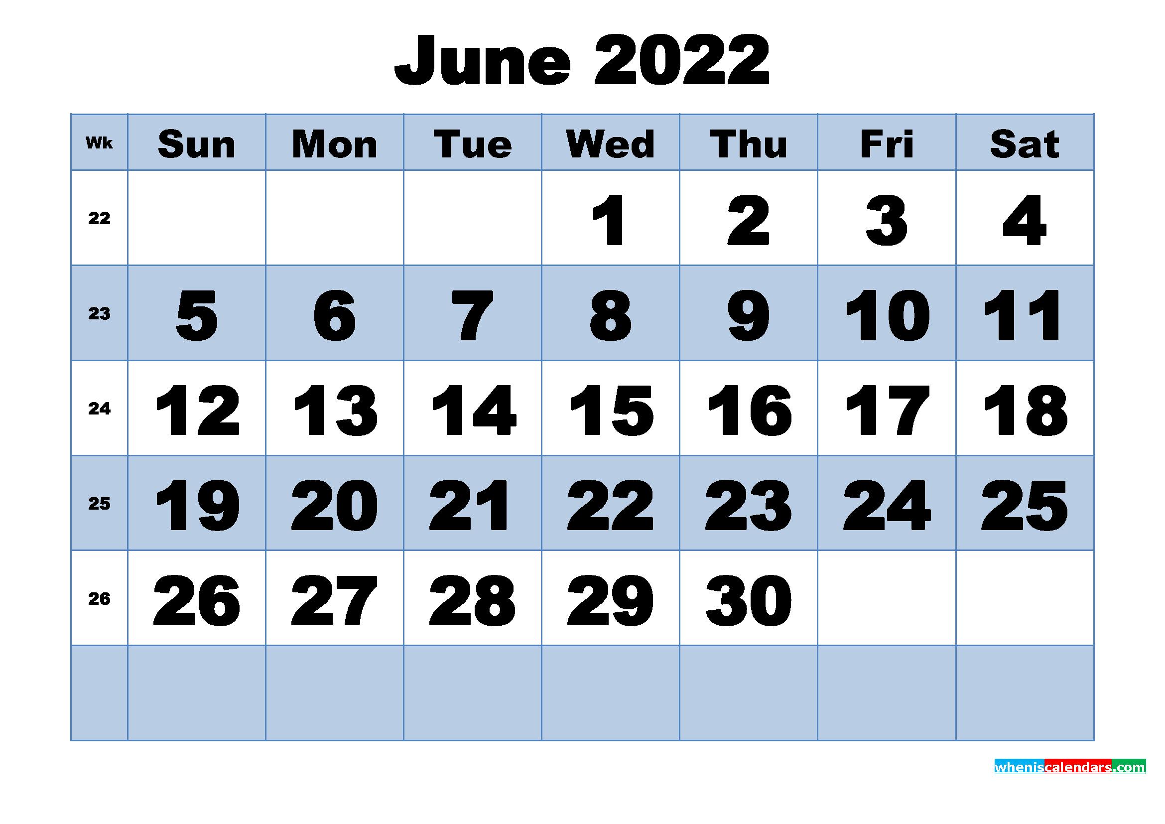 Free Printable June 2022 Calendar with Week Numbers | Free ...