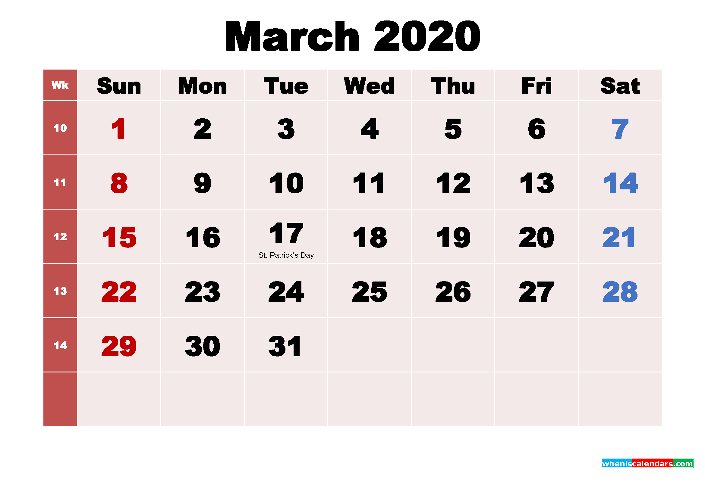 Free Printable March 2020 Calendar with Holidays as Word, PDF