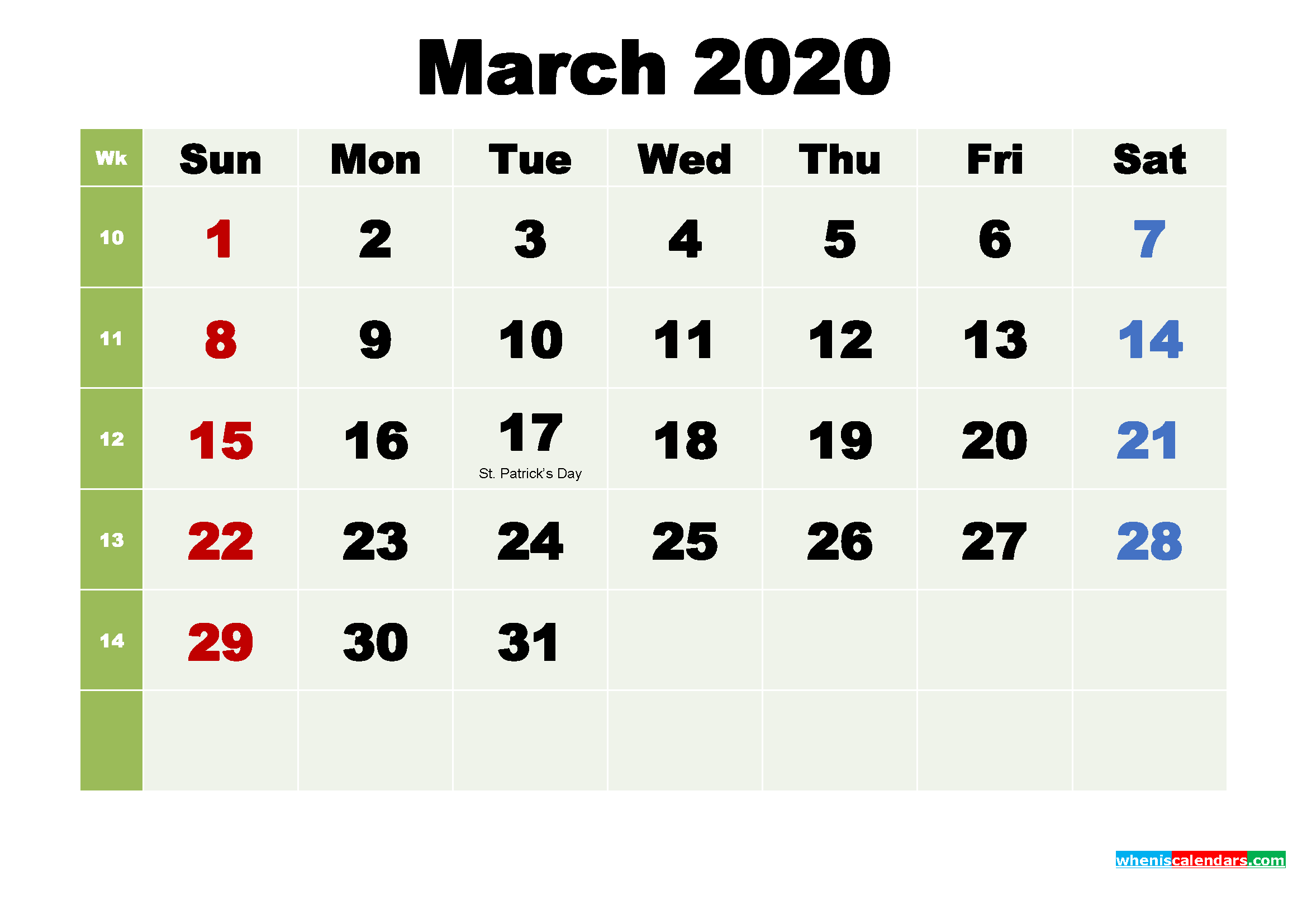 Printable Calendar March 2020 with Holidays as Word, PDF