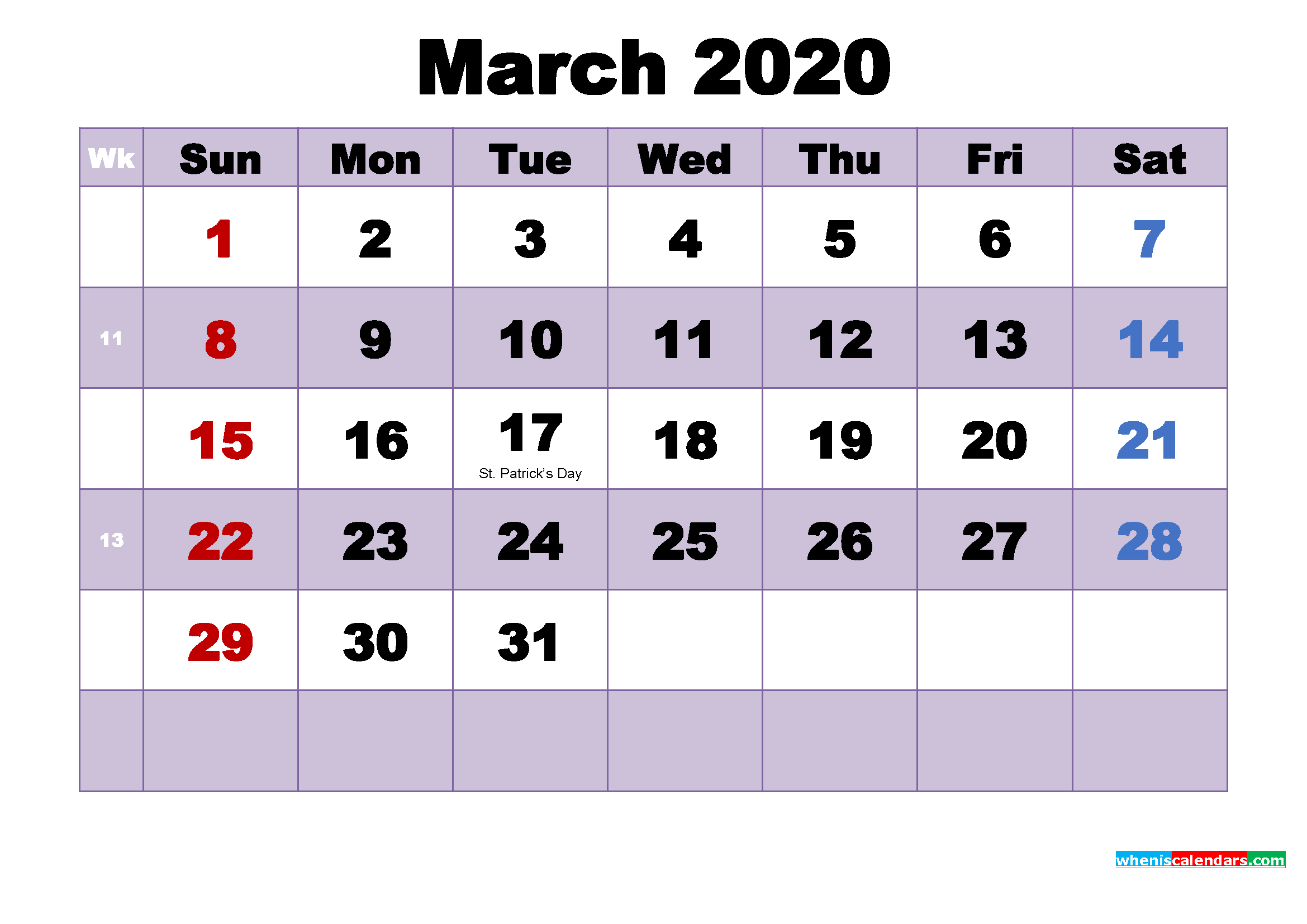 Printable 2020 Calendar with Holidays March