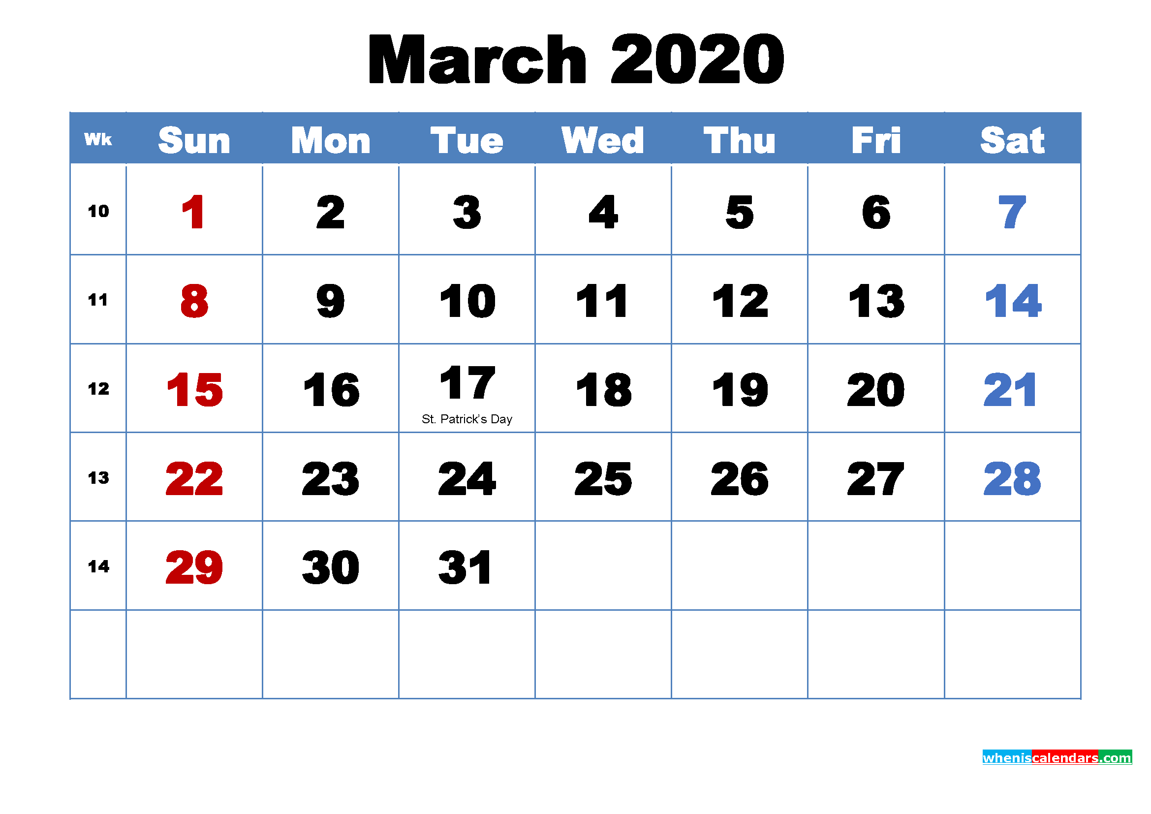 Printable 2020 Calendar by Month March