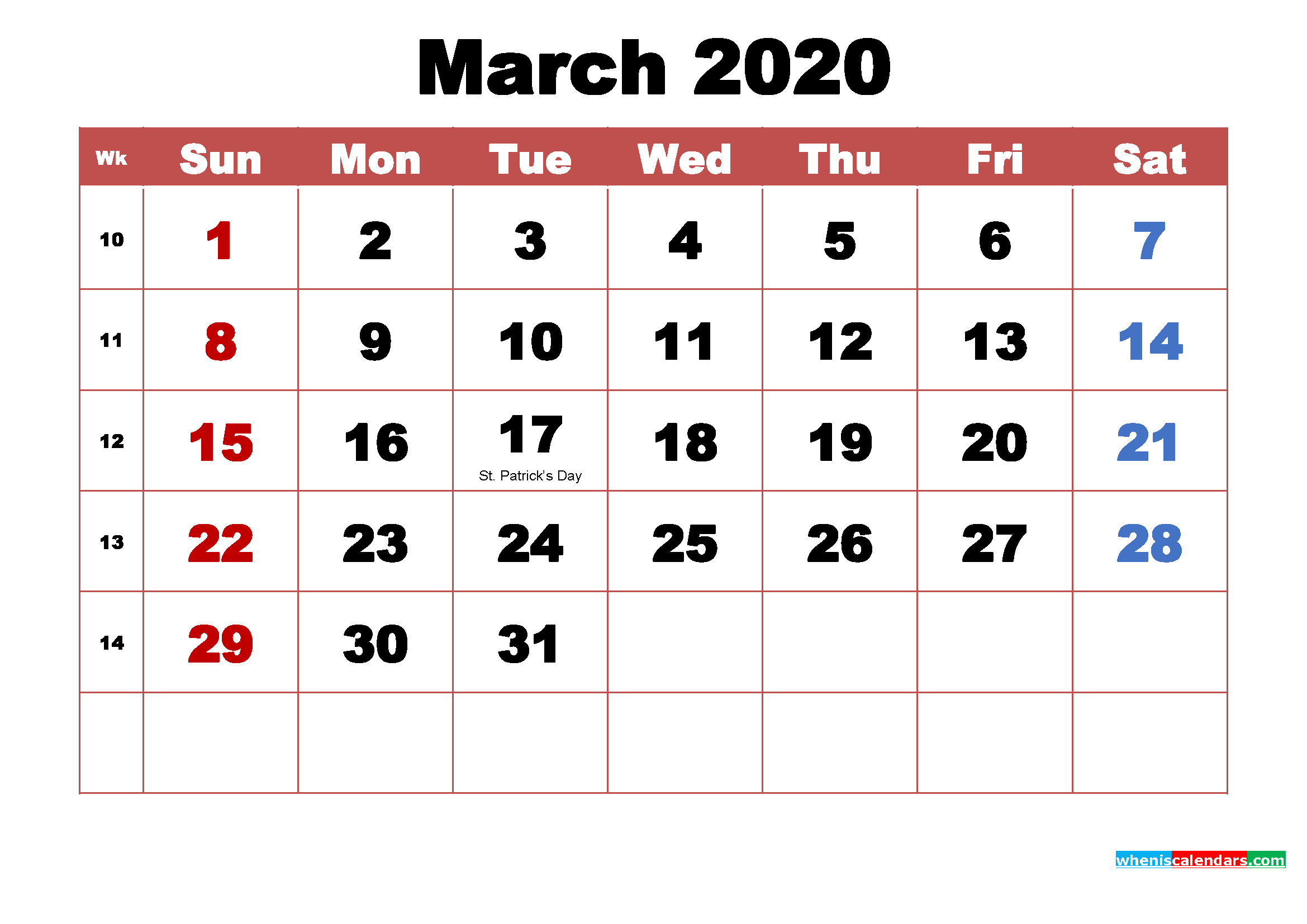 Printable March 2020 Calendar with Holidays Word, PDF