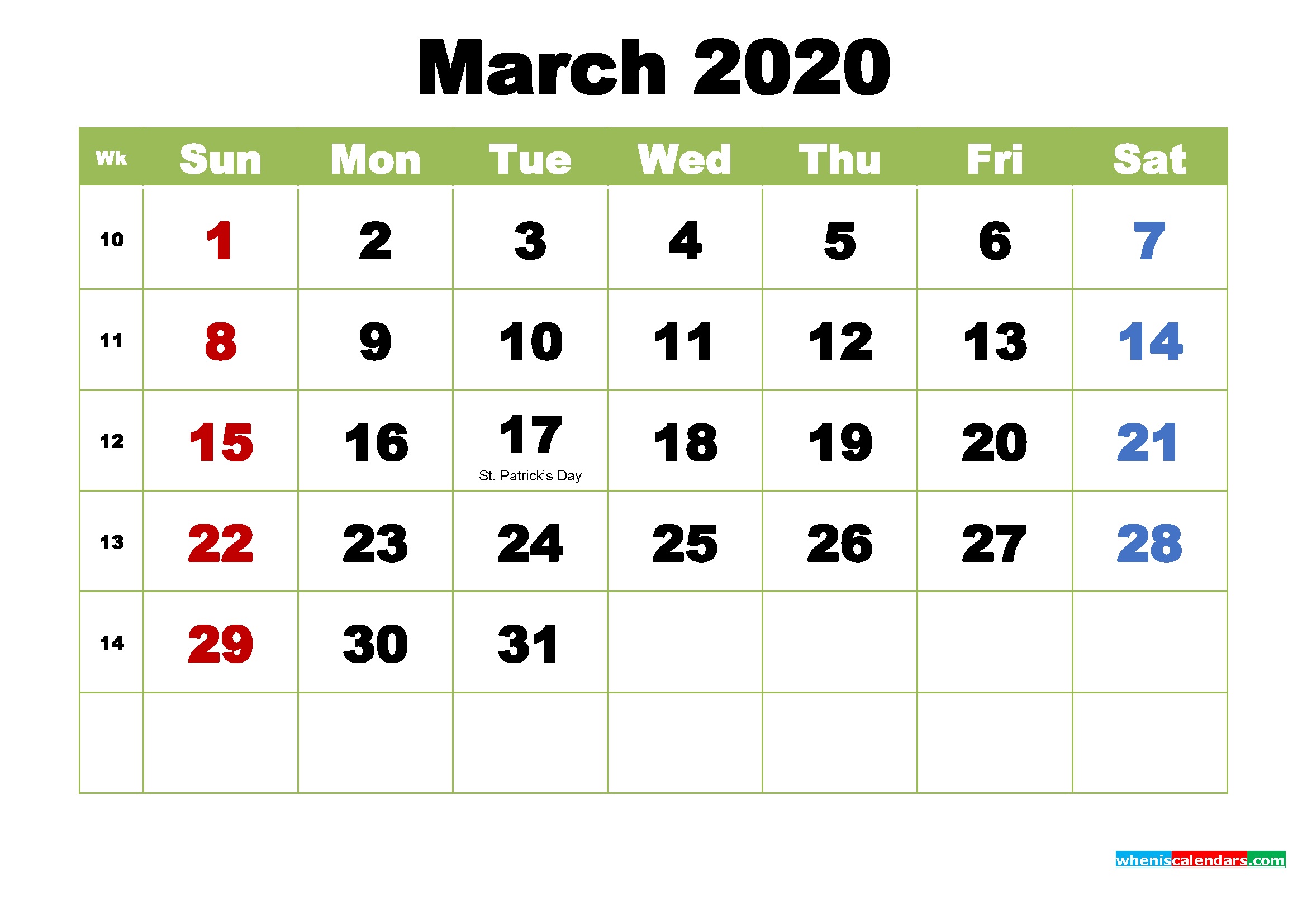 March 2020 Desktop Calendar with Holidays