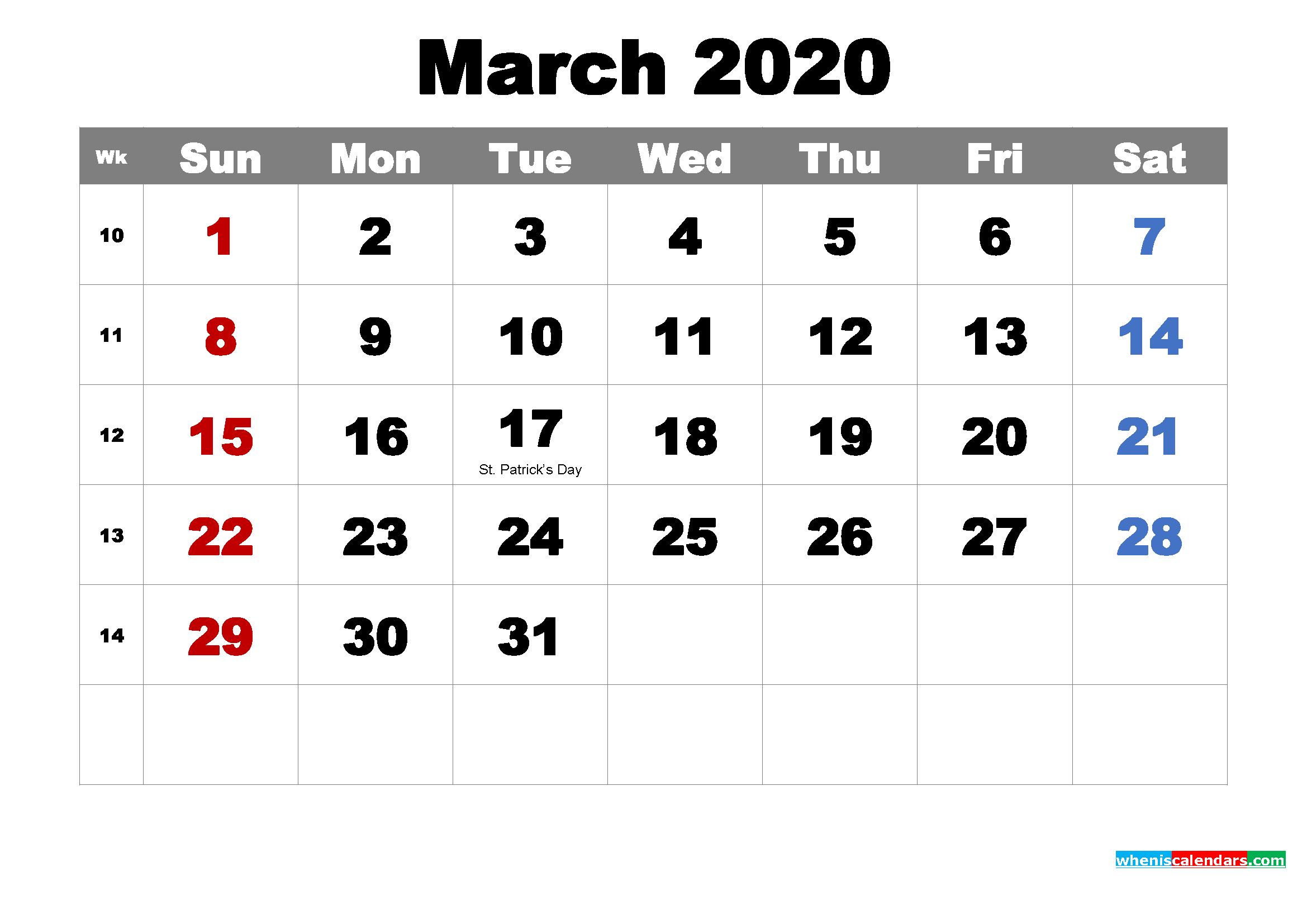 Free Printable March 2020 Calendar Wallpaper