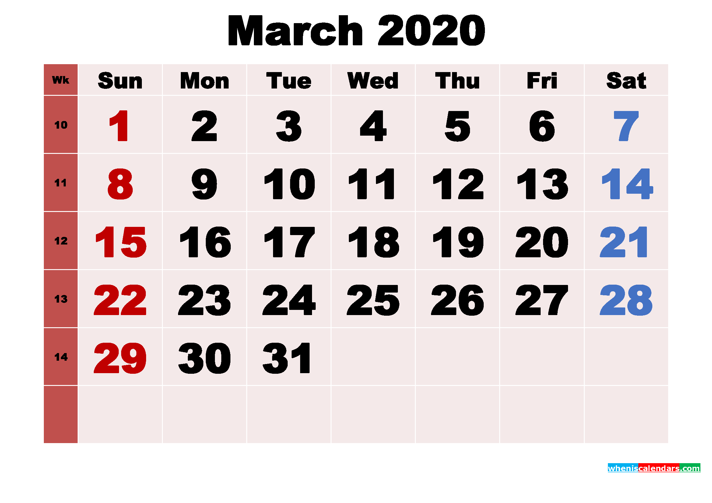 Free Printable Monthly Calendar March 2020