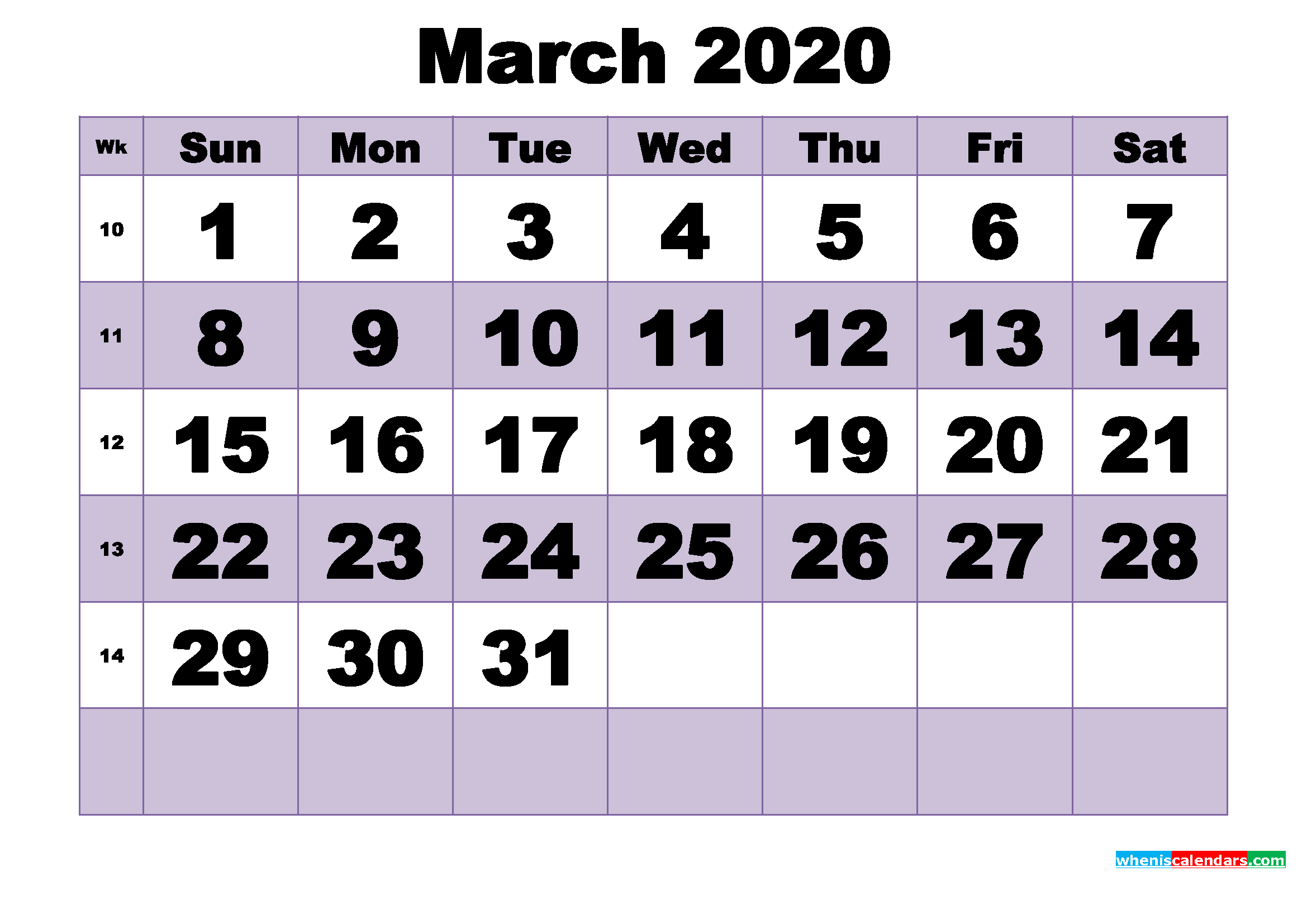 Free March 2020 Printable Monthly Calendar Template
