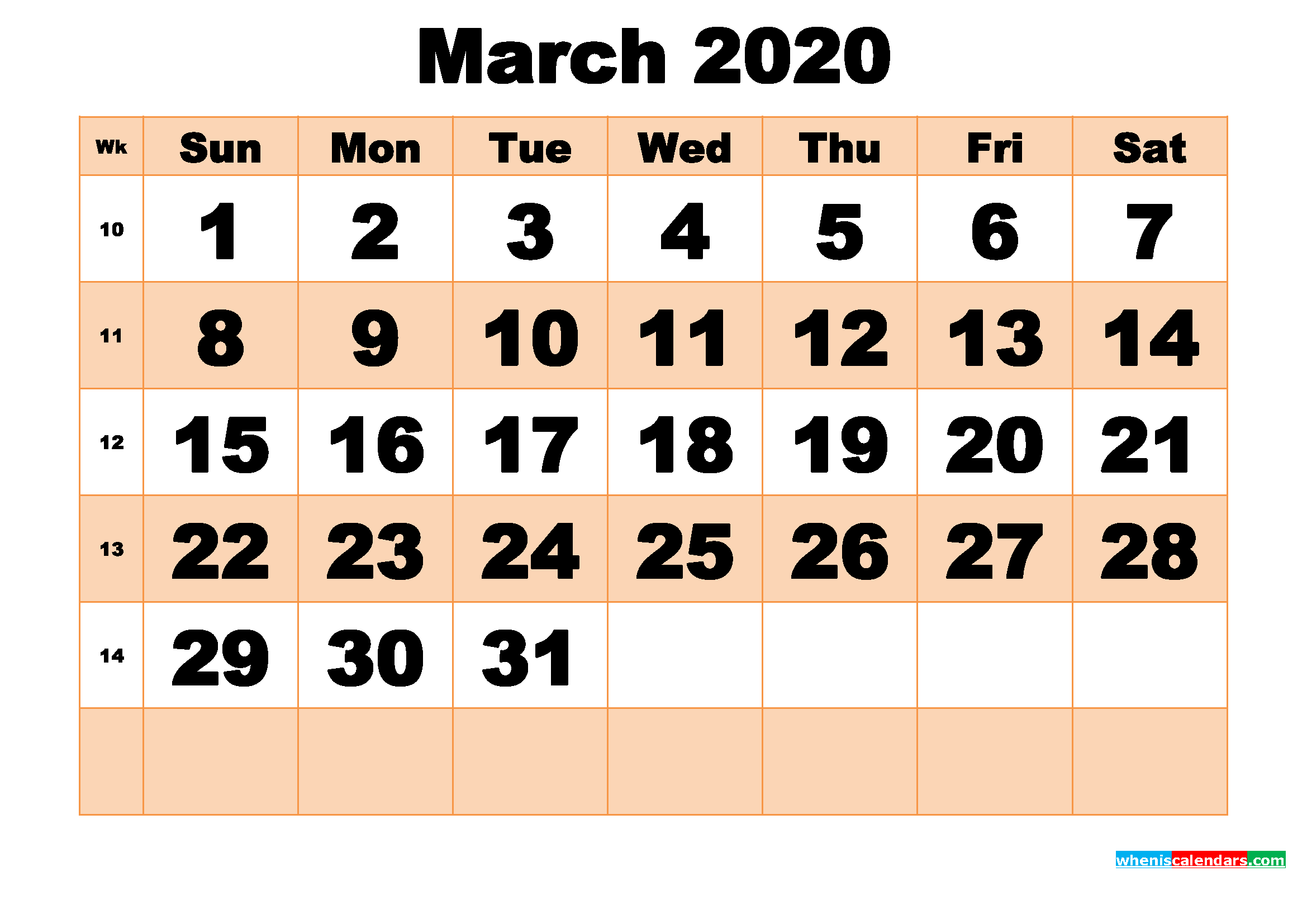 Free Printable March 2020 Calendar Template Word, PDF