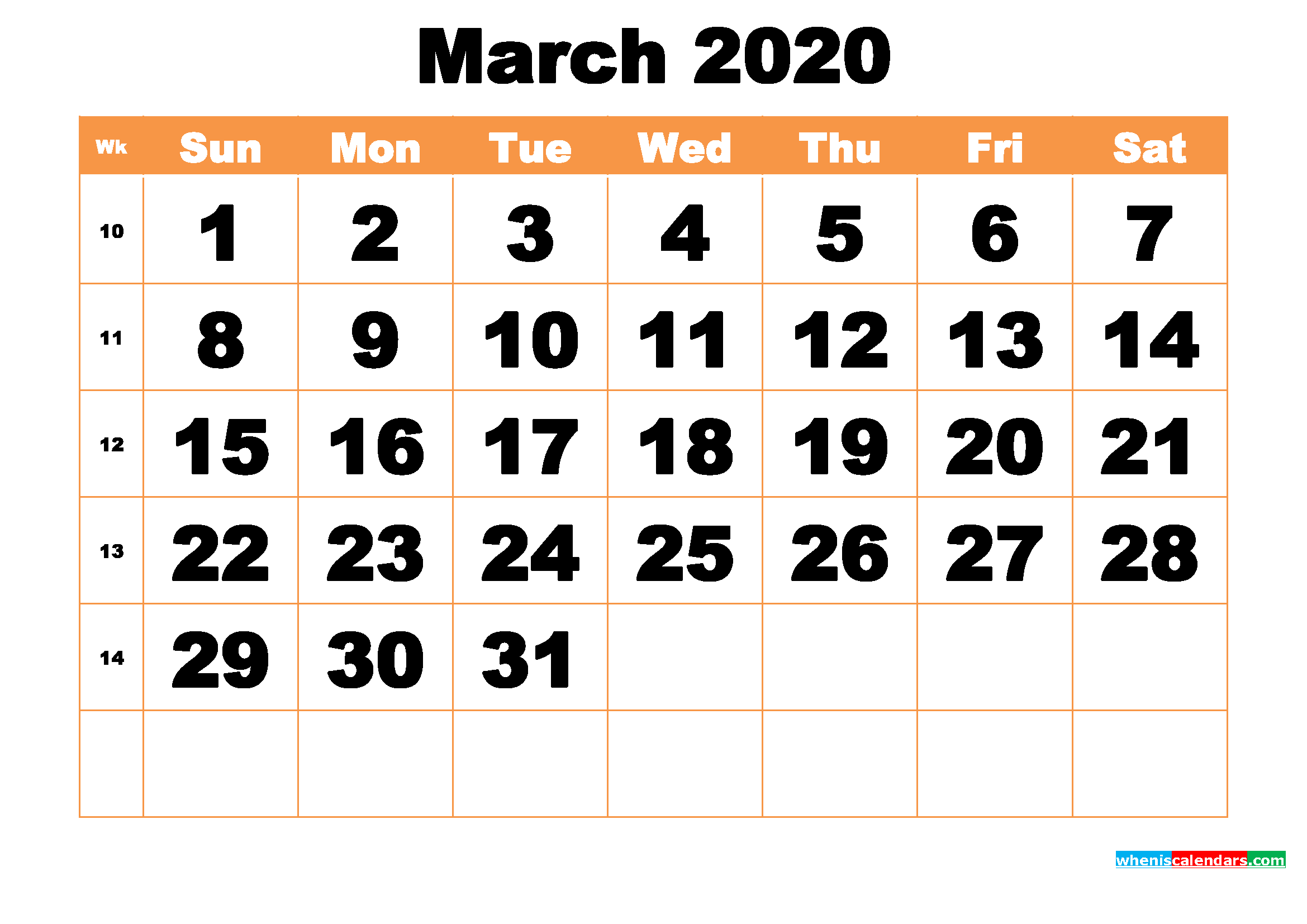 Free Printable March 2020 Calendar Word, PDF, Image