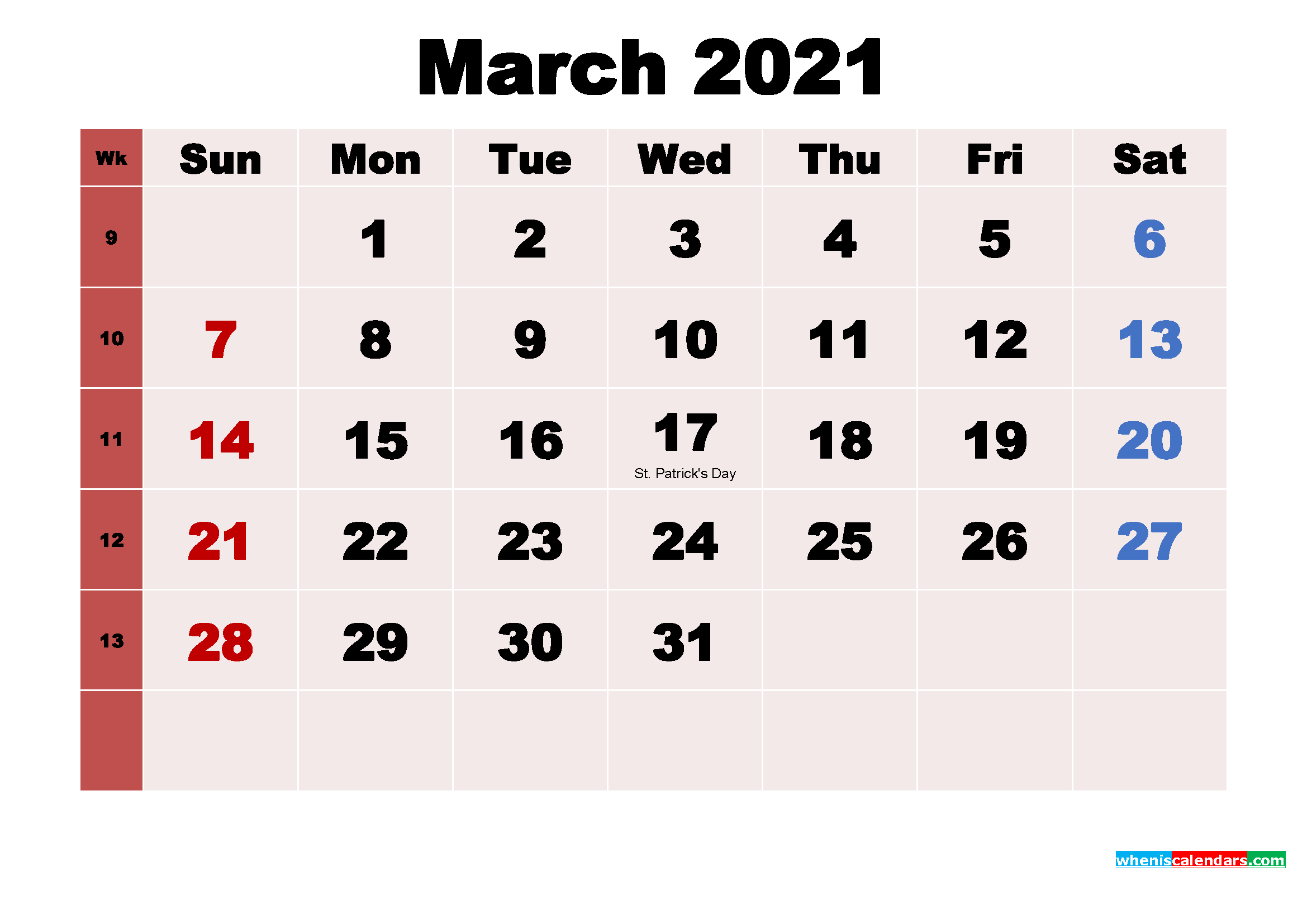 March 2021 Calendar Wallpaper Free Download