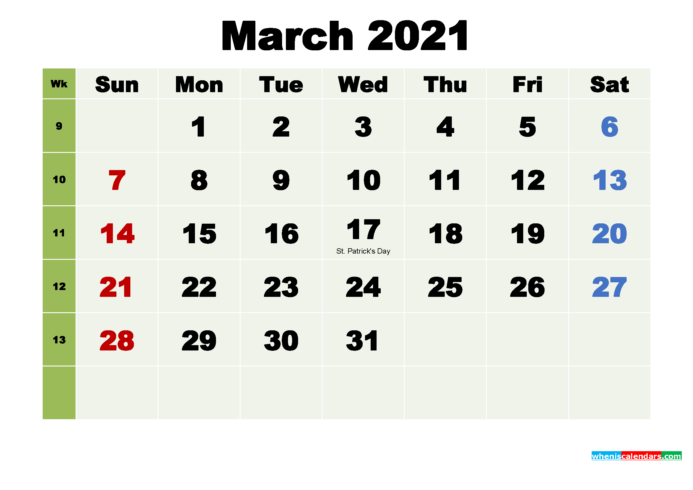 Printable Calendar March 2021 with Holidays as Word, PDF