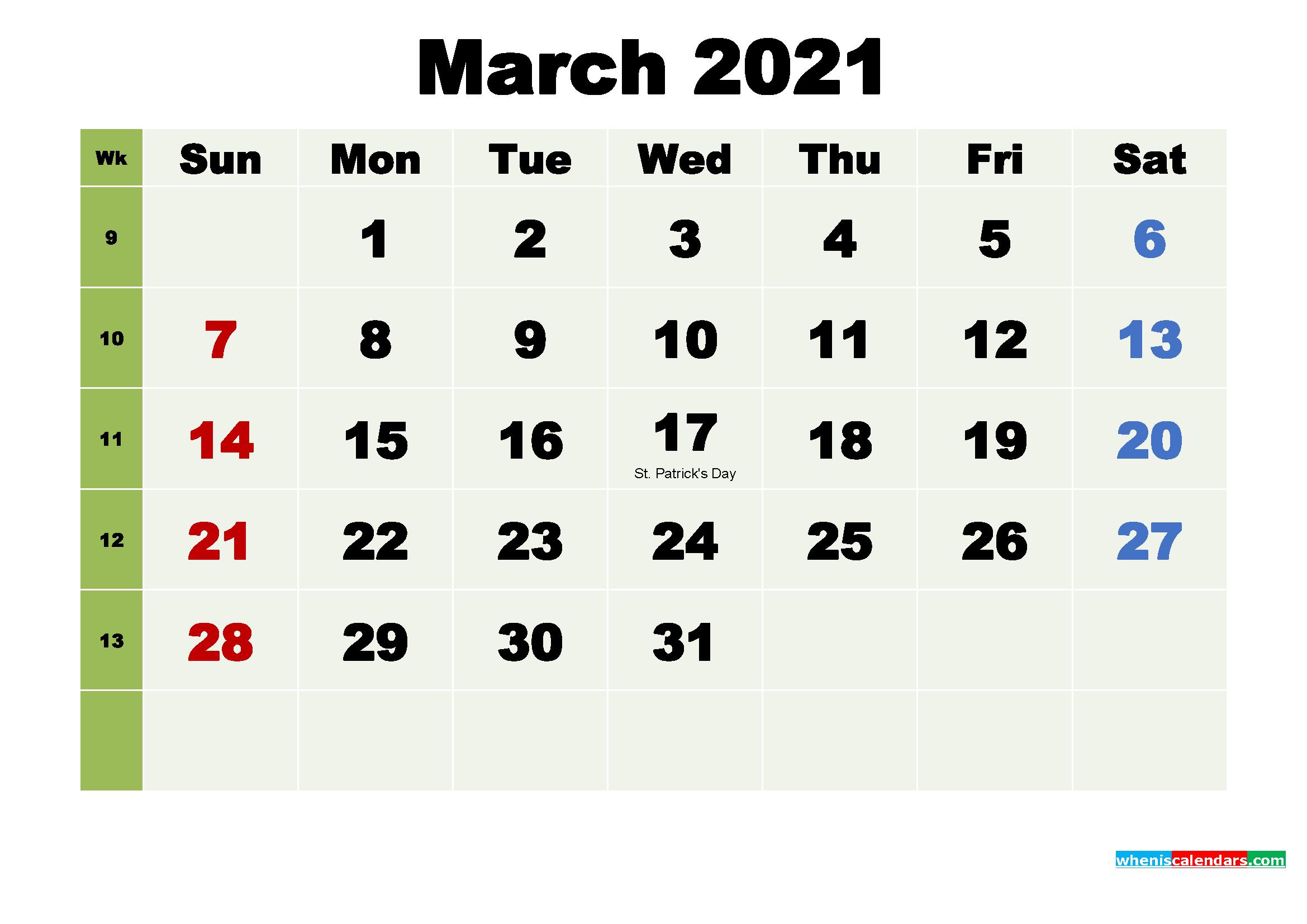 Free March 2021 Desktop Calendar High Resolution