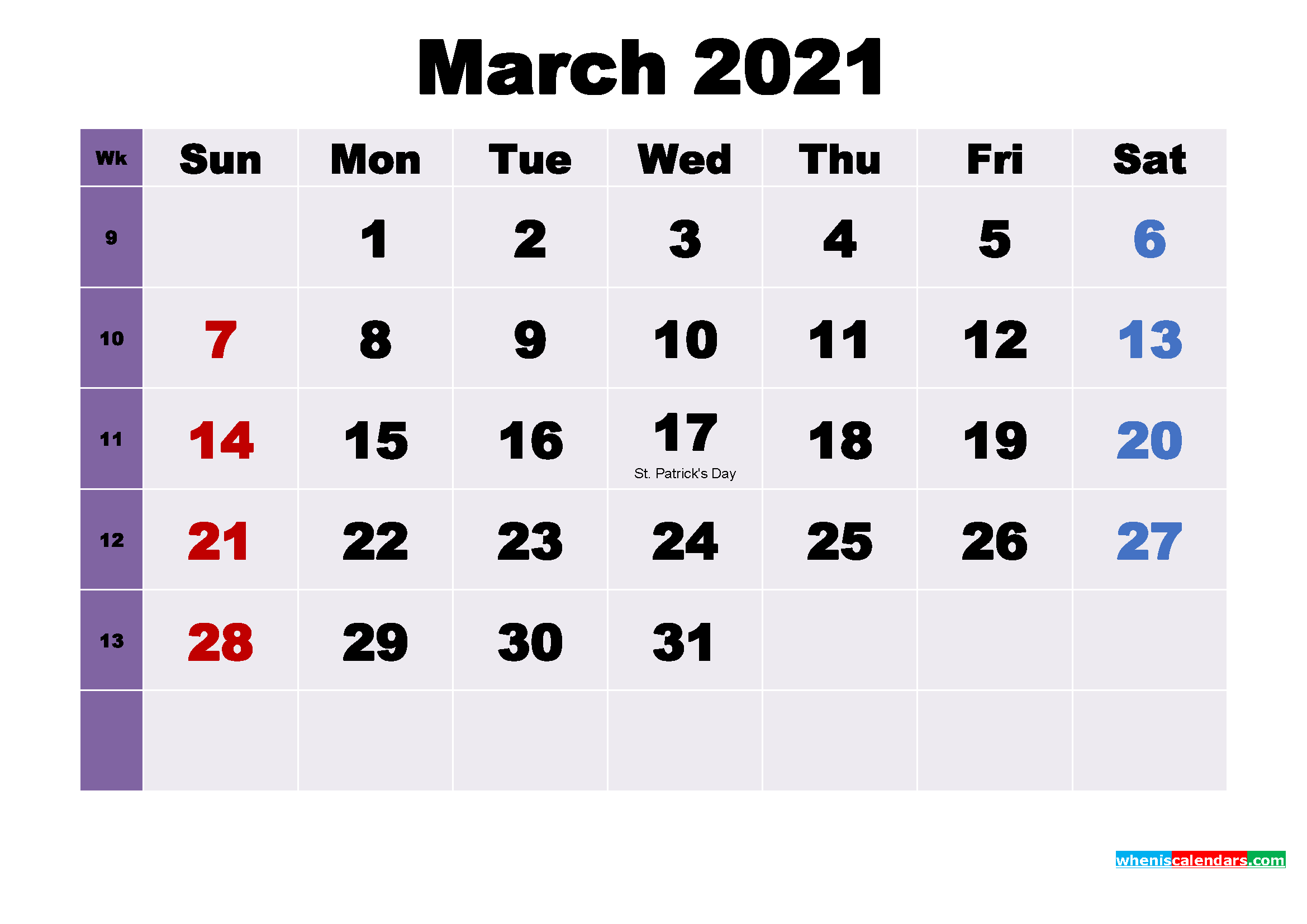 Printable March 2021 Calendar with Holidays Word, PDF