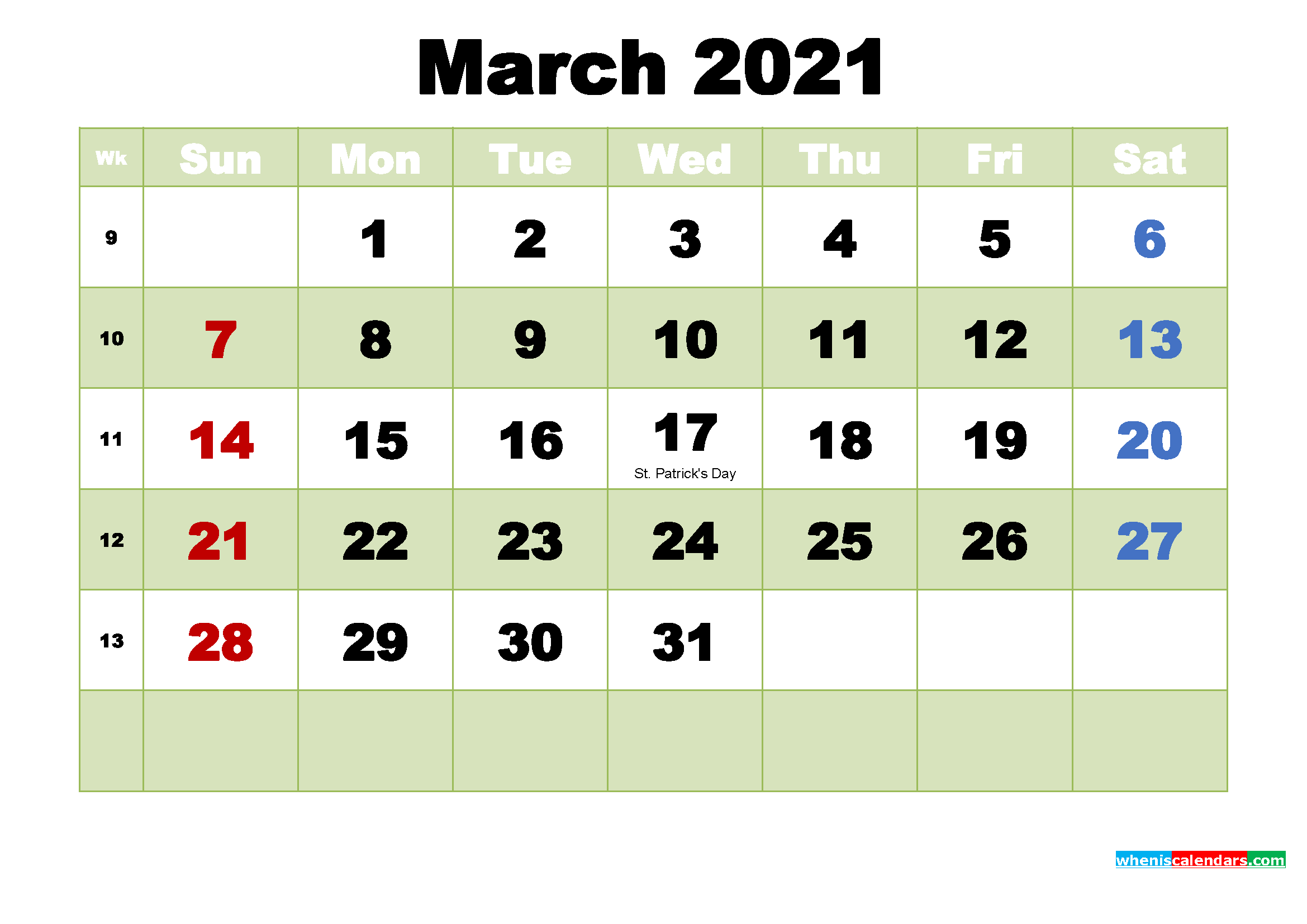 Free March 2021 Printable Calendar Template Word, PDF