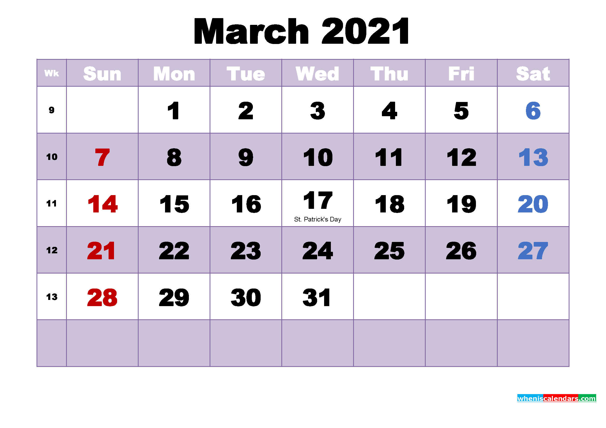 Free Printable March 2021 Calendar Word | Free Printable ...