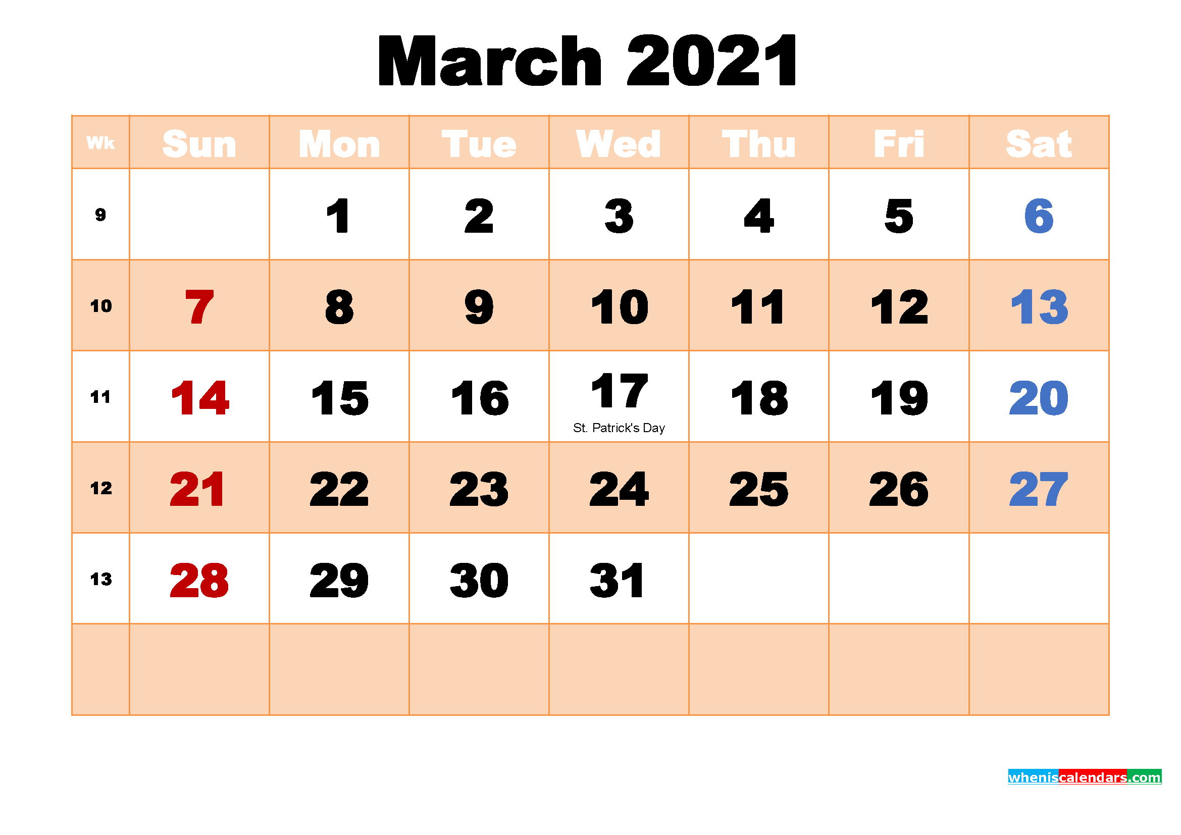 Free Printable 2021 Monthly Calendar with Holidays March