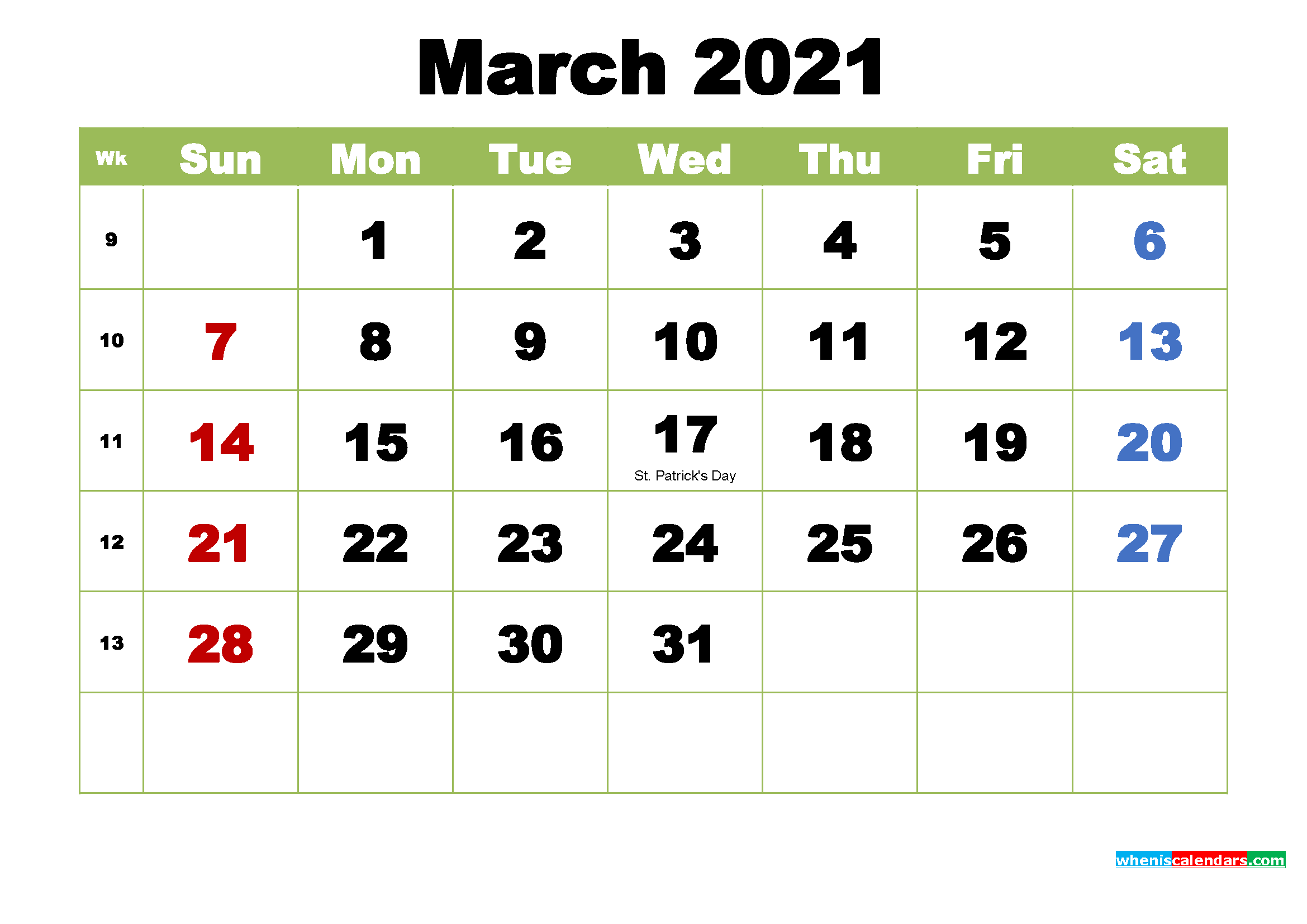 March 2021 Calendar with Holidays Wallpaper