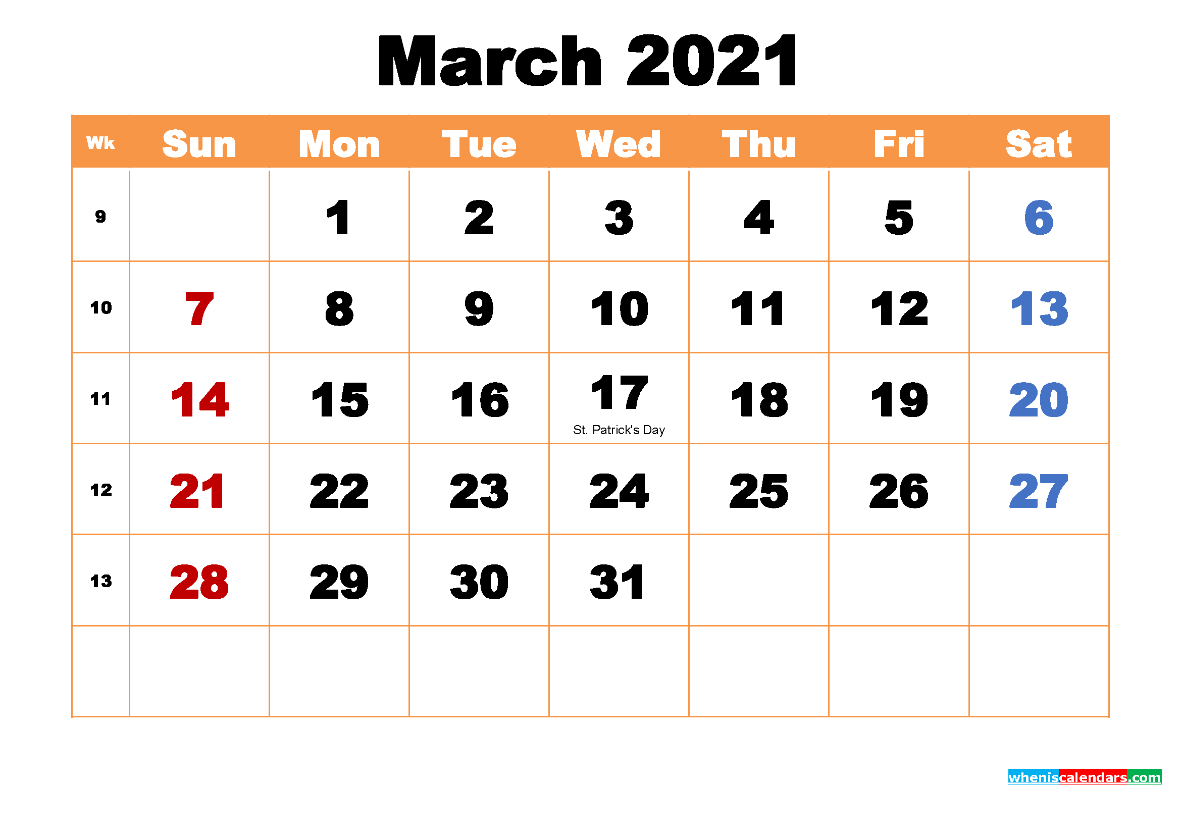 March 2021 Calendar Wallpaper High Resolution