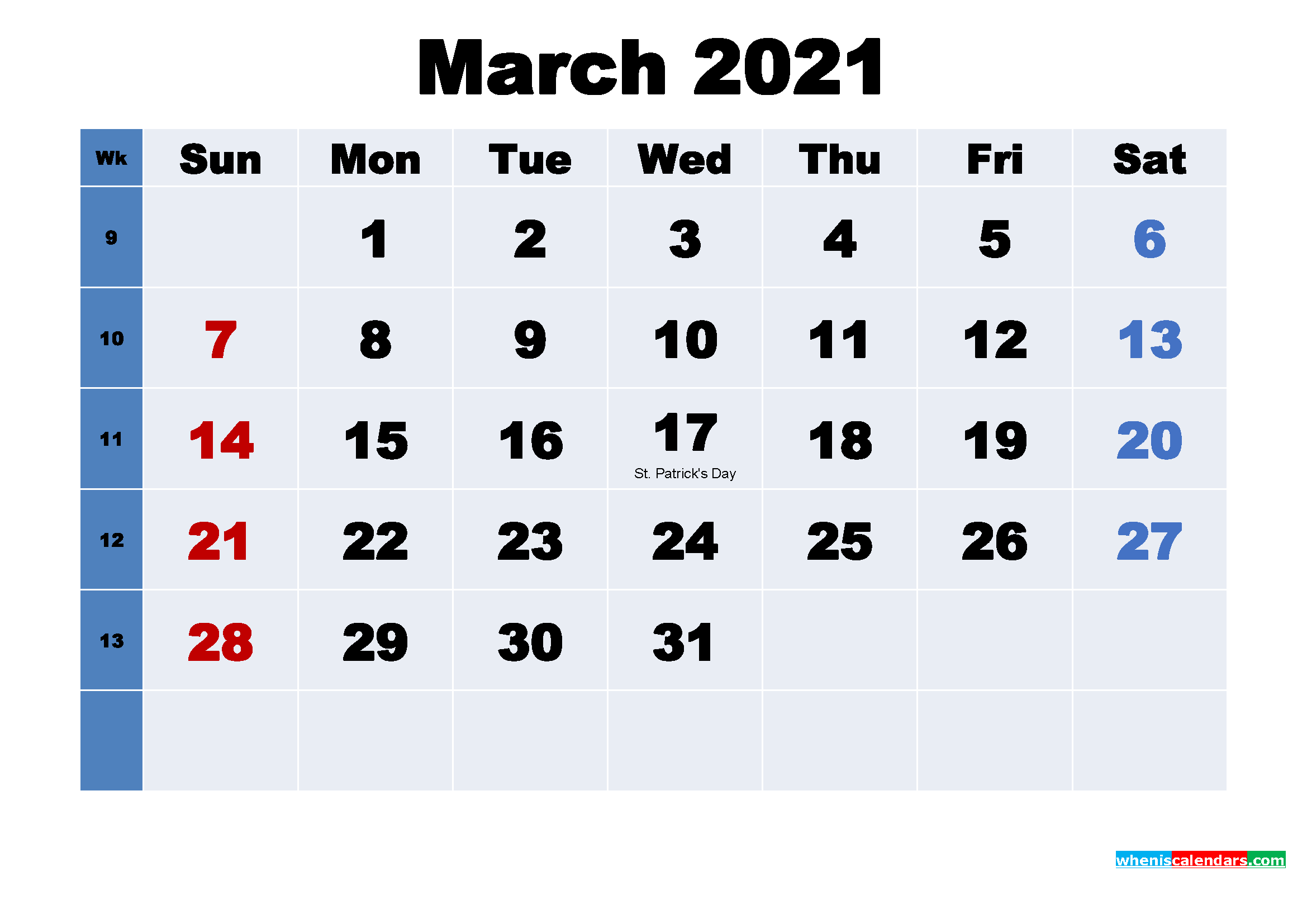 Free Printable 2021 Calendar with Holidays March