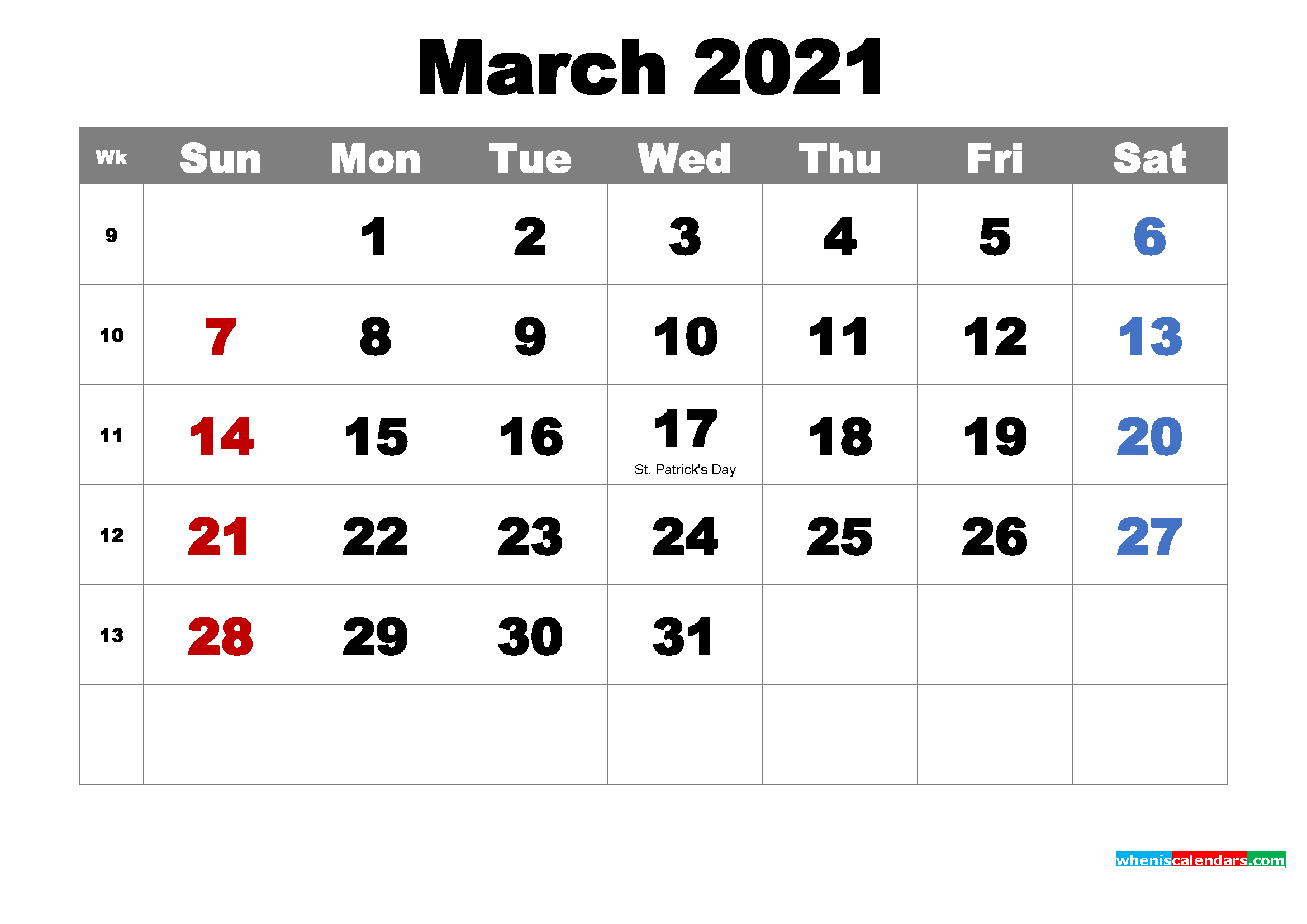 Printable March 2021 Calendar by Month