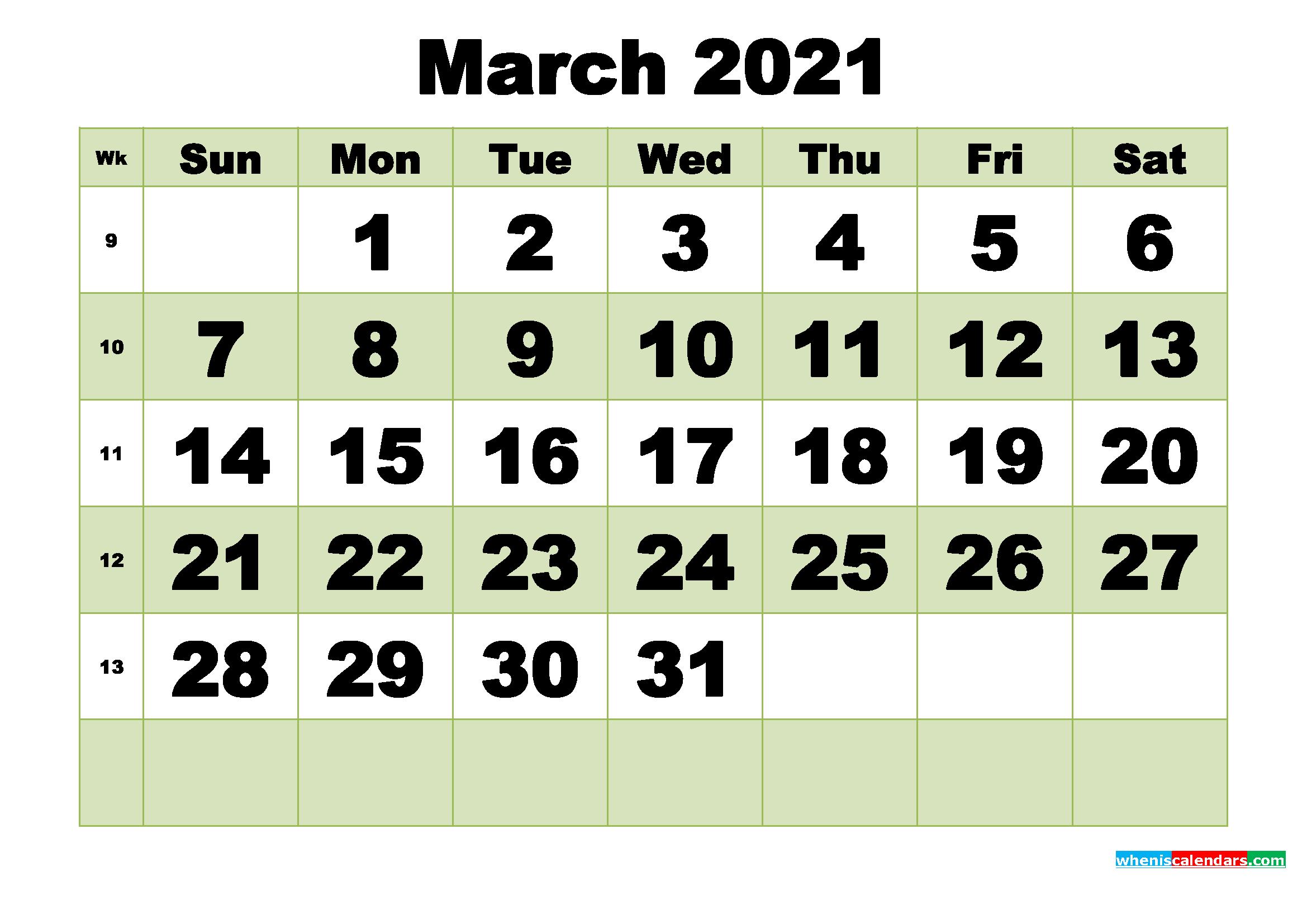 March 2021 Printable Calendar Template - Free Printable ...
