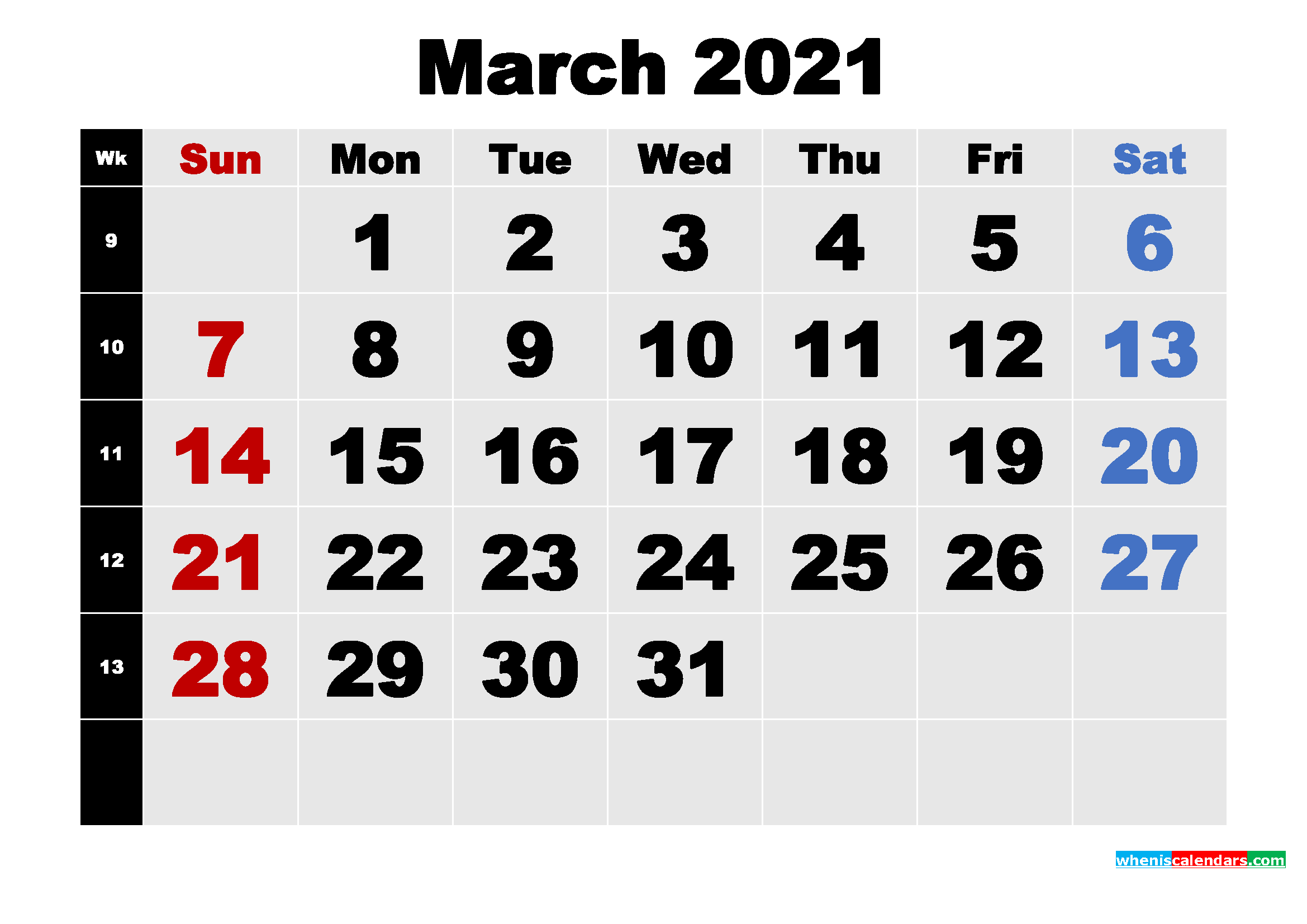 Free Printable March 2021 Calendar Template Word, PDF