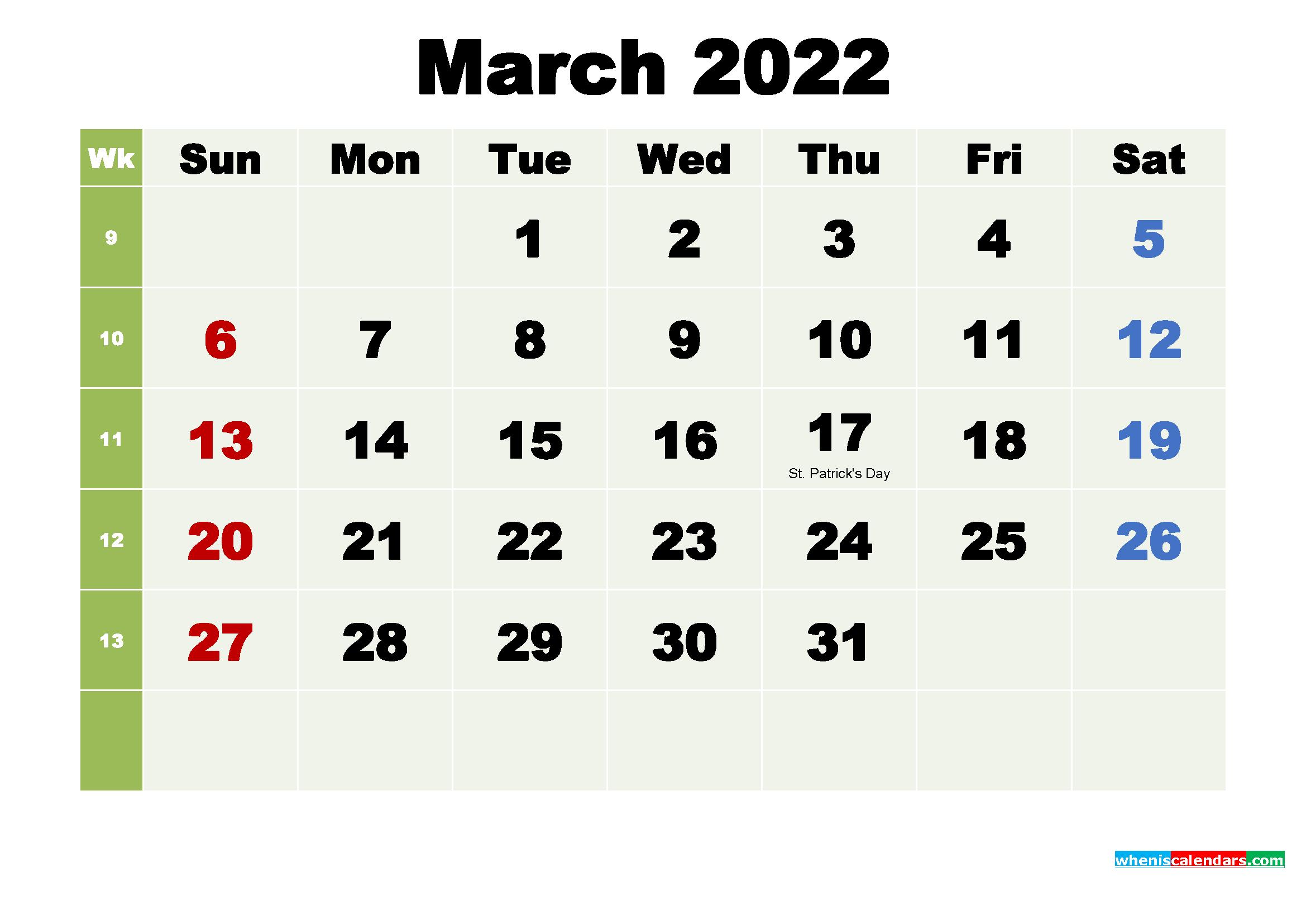March 2022 Calendar Wallpaper High Resolution