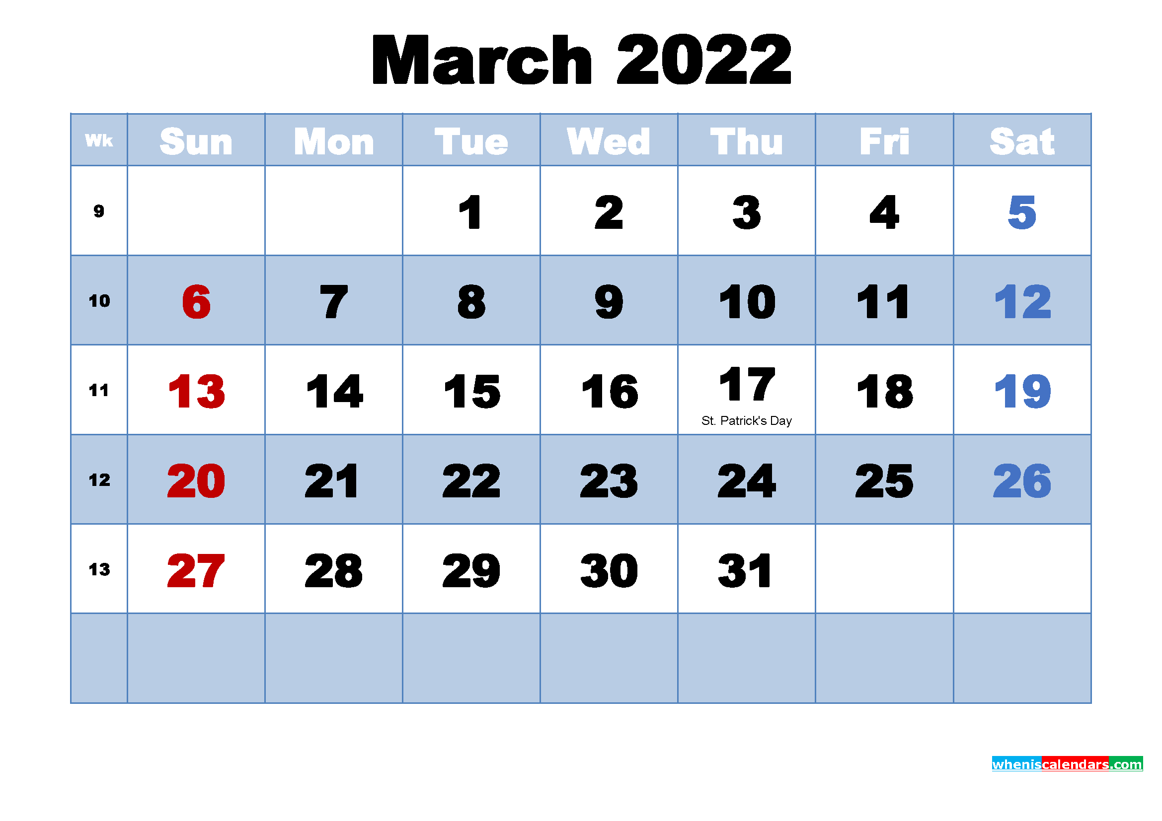 Free Printable 2022 Monthly Calendar with Holidays March