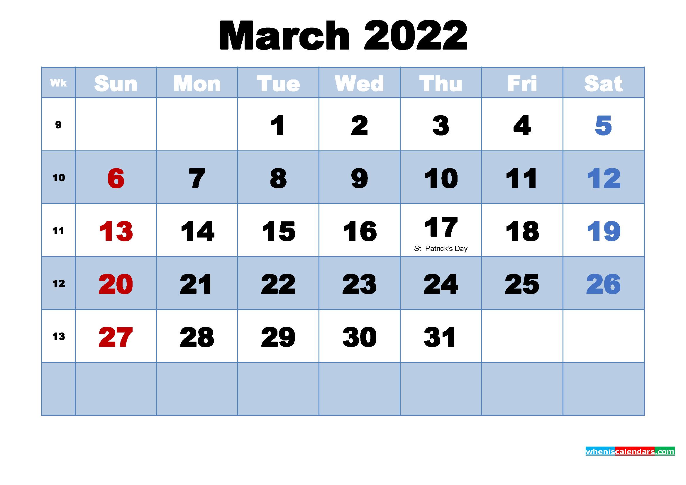 March 2022 Desktop Calendar Monthly