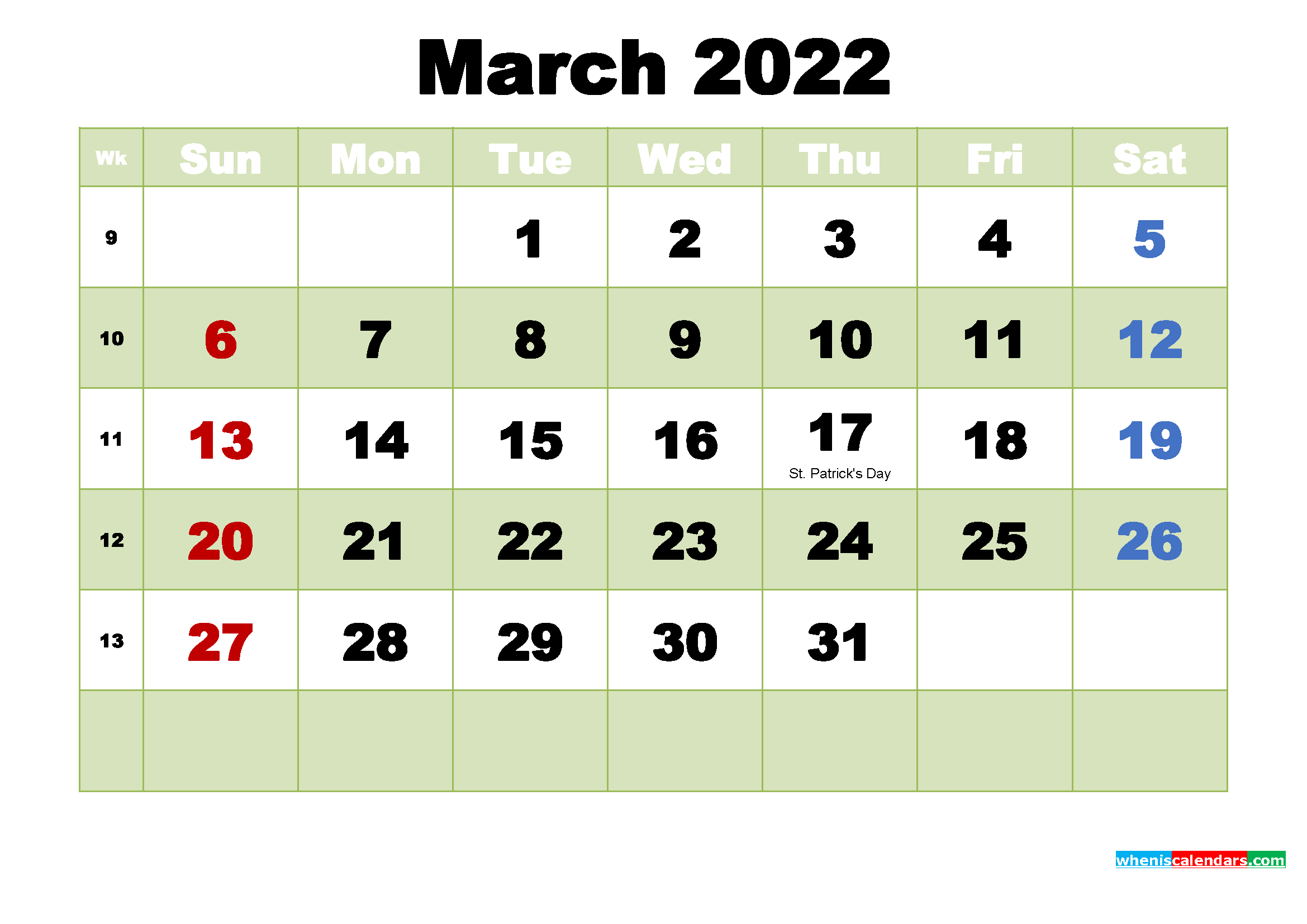 Printable Calendar for March 2022