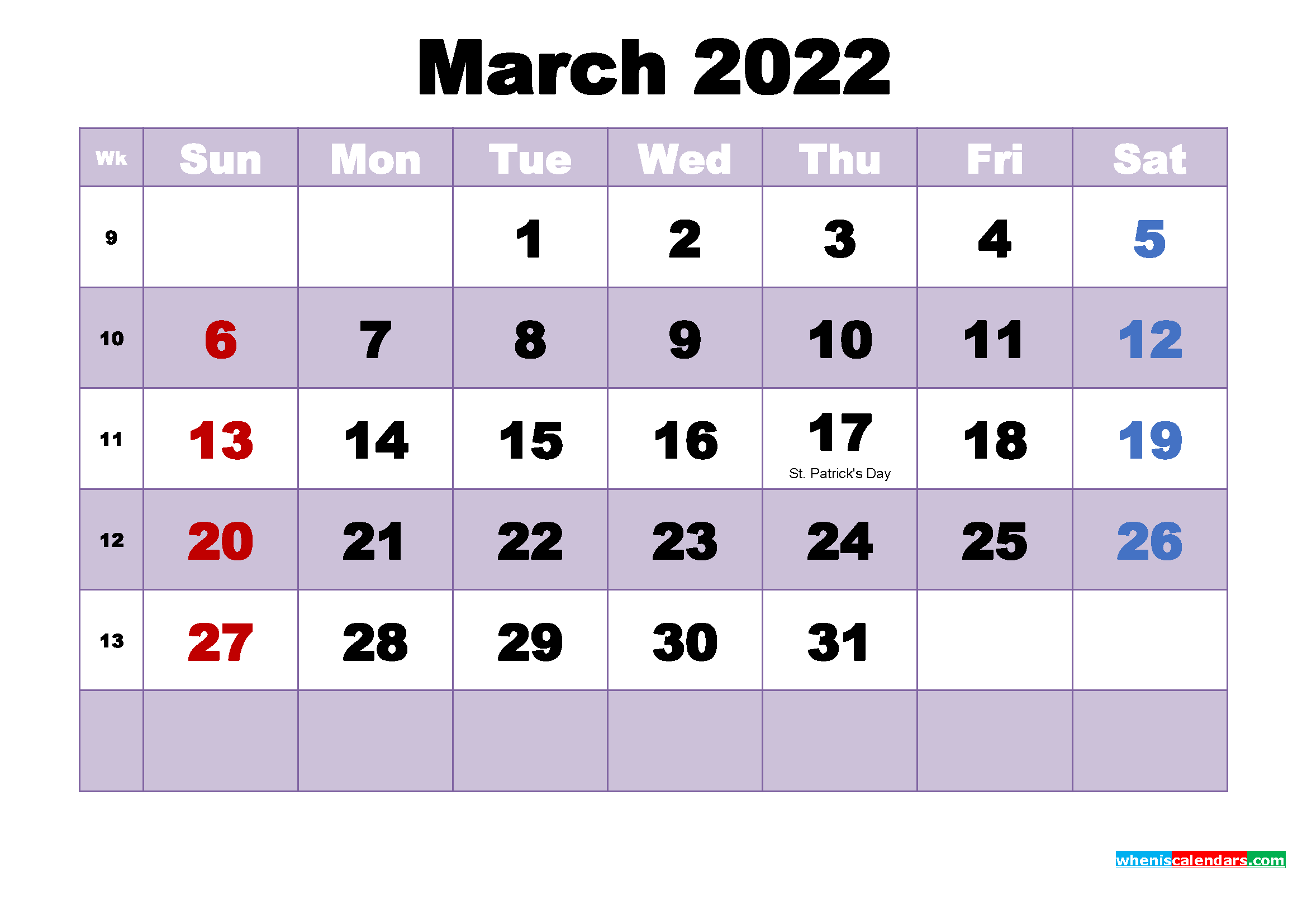 Printable 2022 Calendar with Holidays March