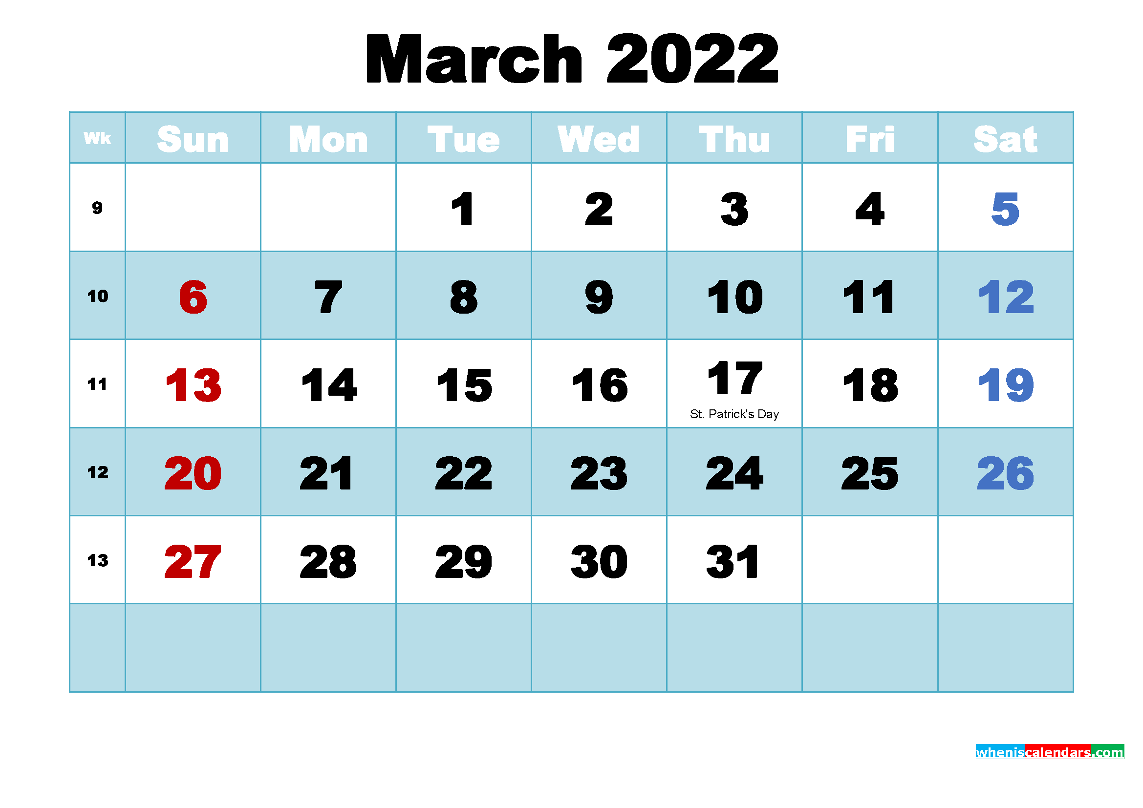 Free Printable 2022 Calendar with Holidays March