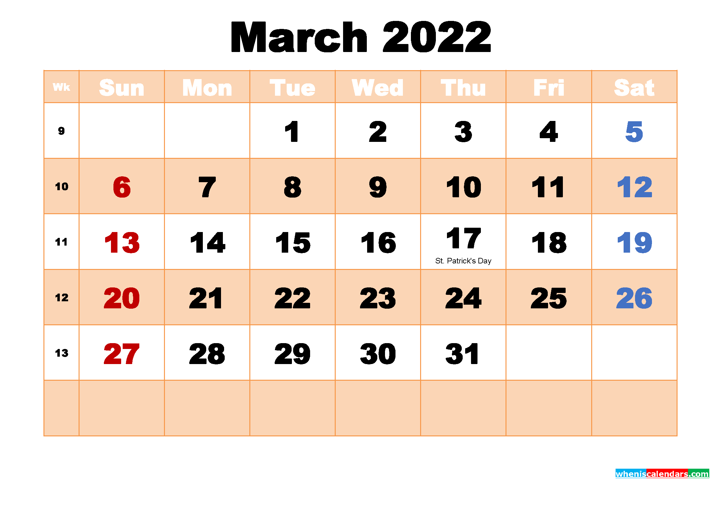 Free Printable March 2022 Calendar with Holidays
