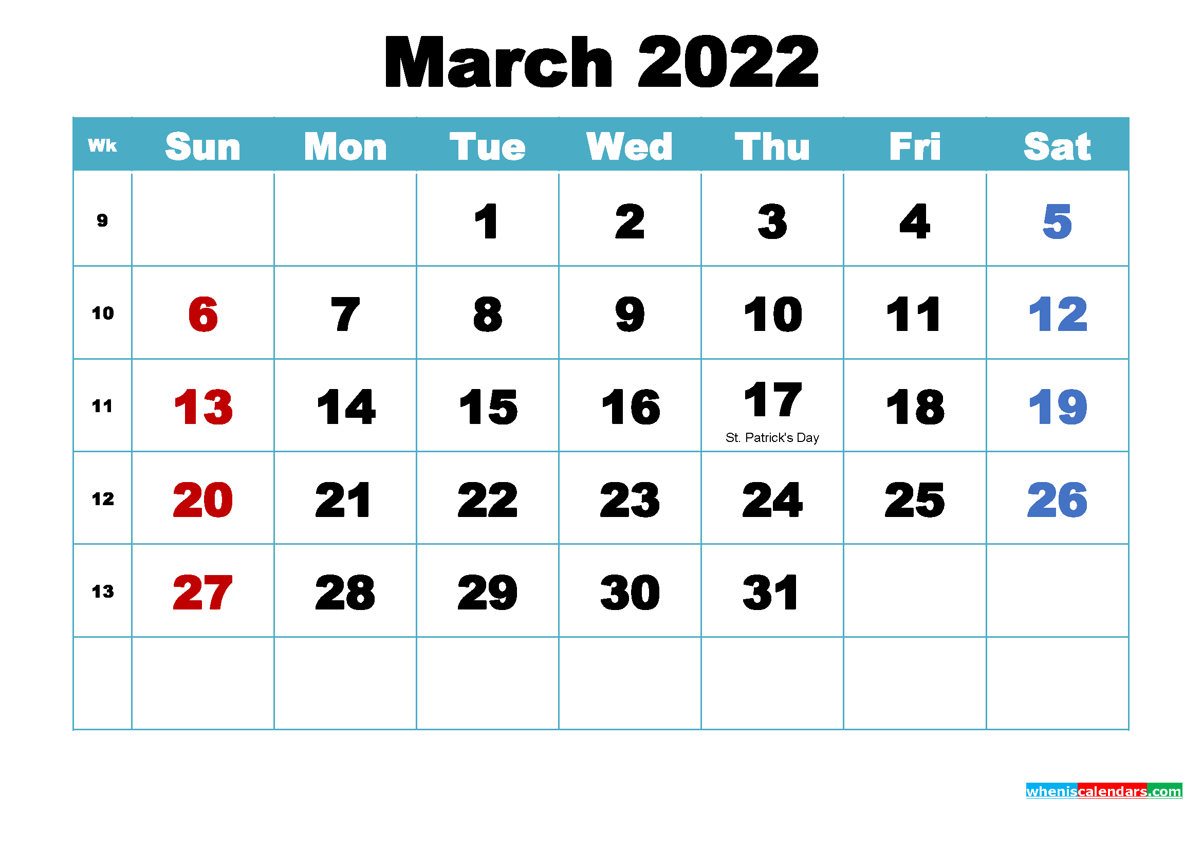 Printable March 2022 Calendar by Month
